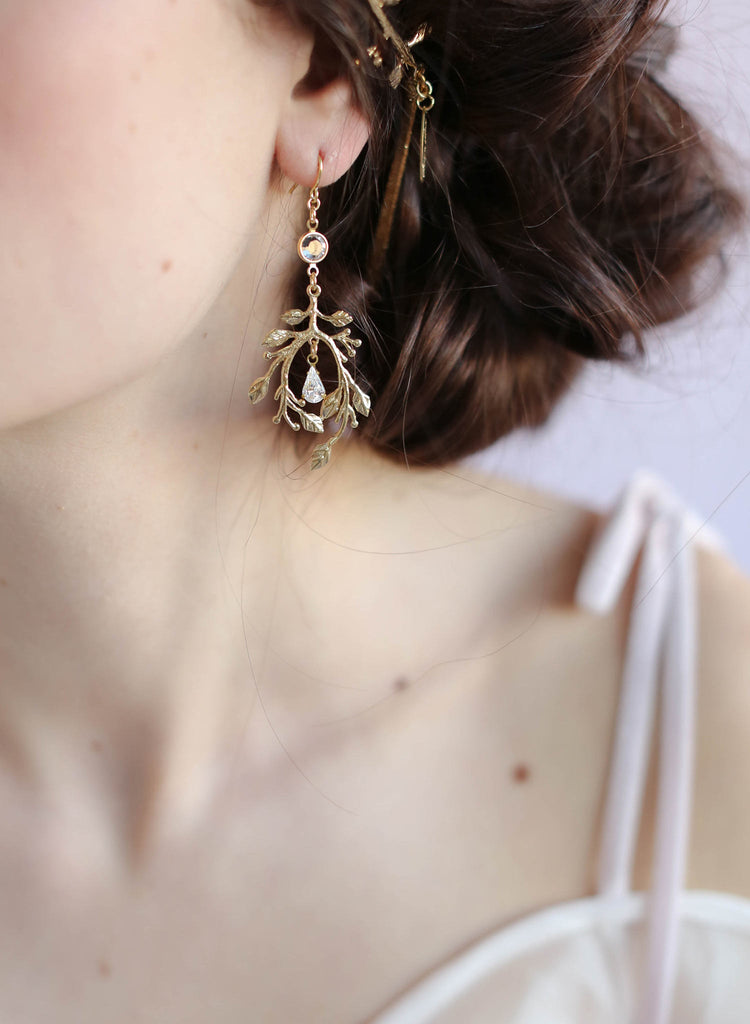 Gilded garden earrings, twigs and honey, jewlery