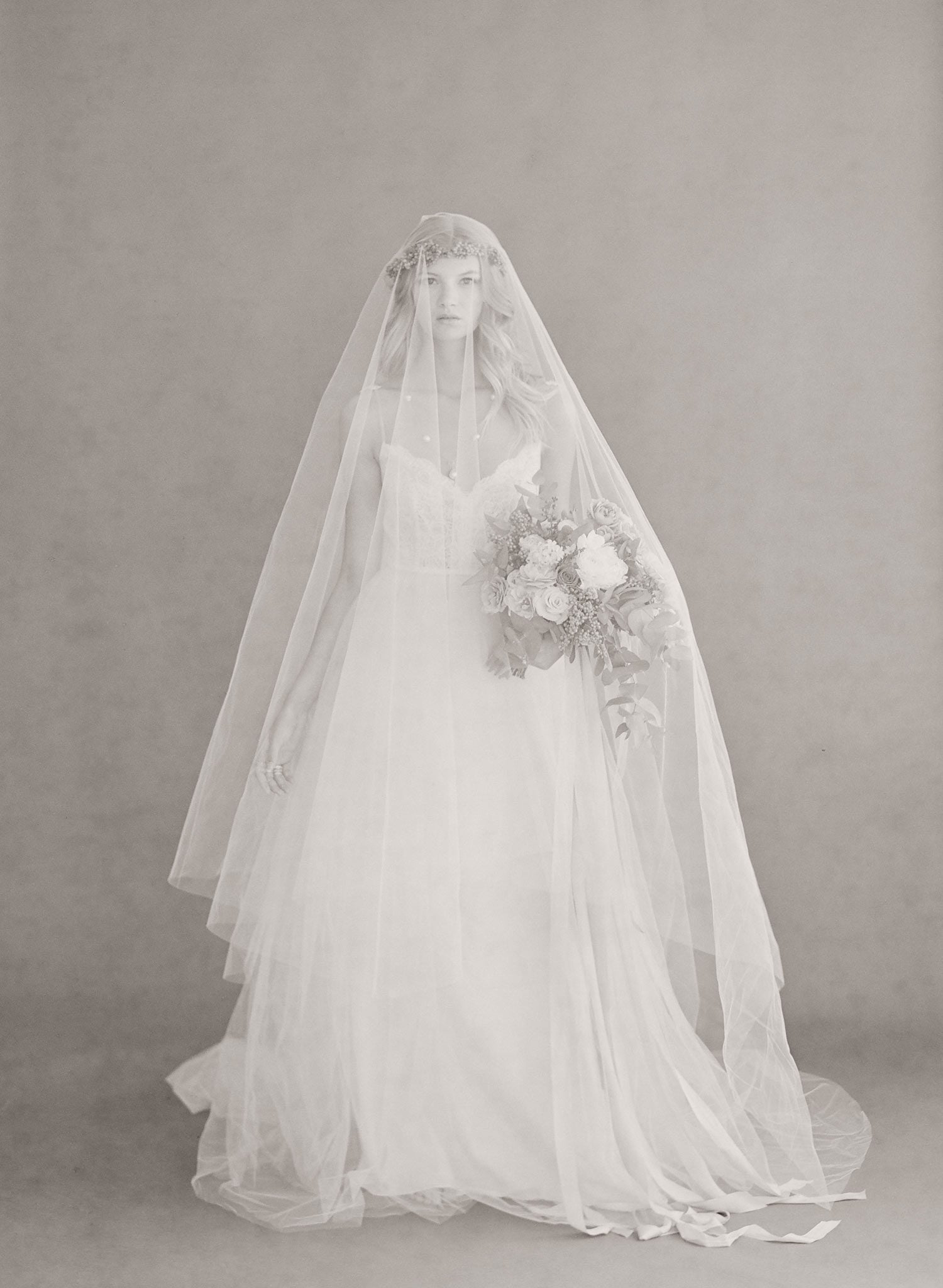 Wide cathedral veil with extra long blusher - Style #668