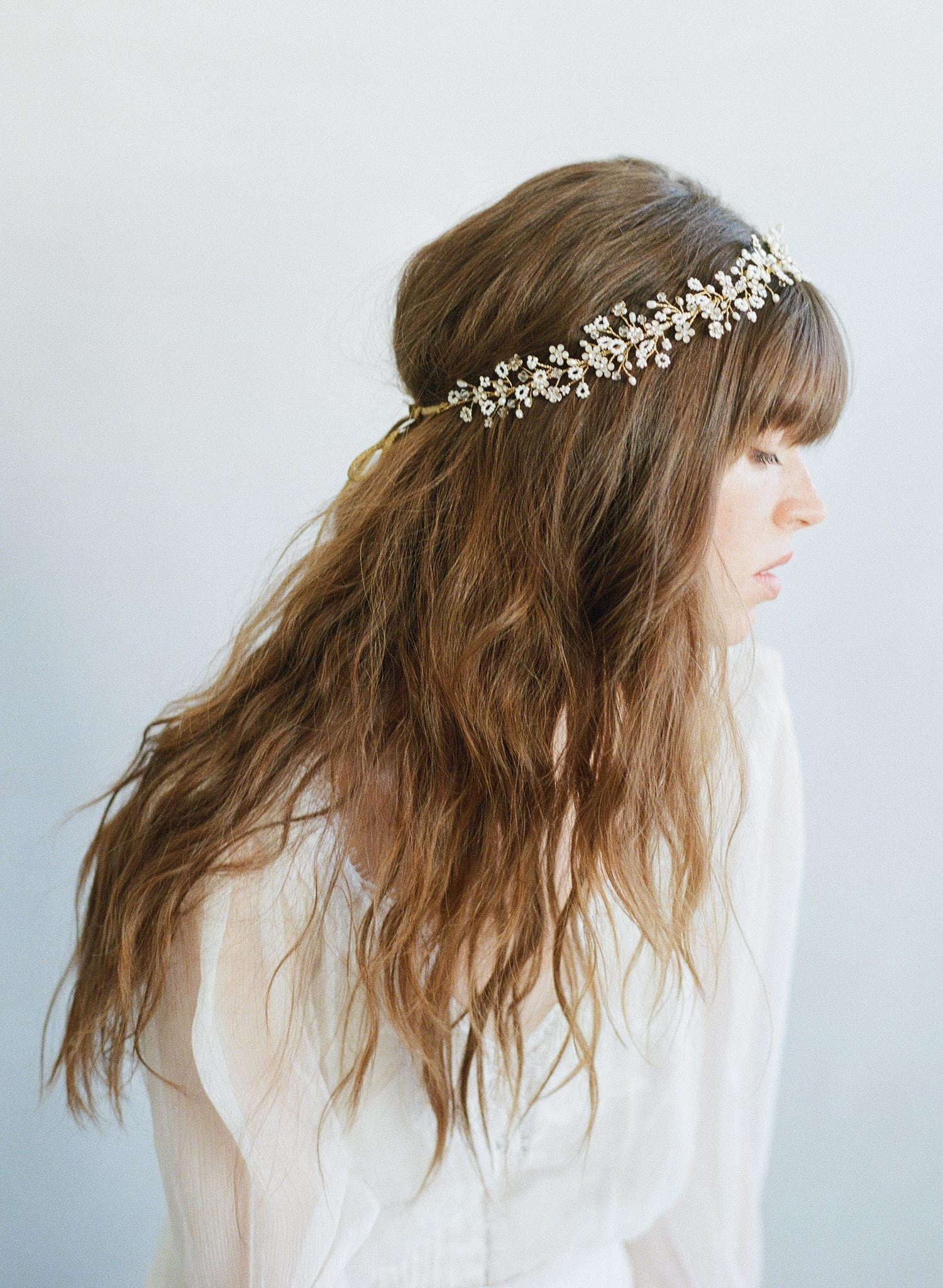 Bead and crystal clusters lush hair vine - Style #7003