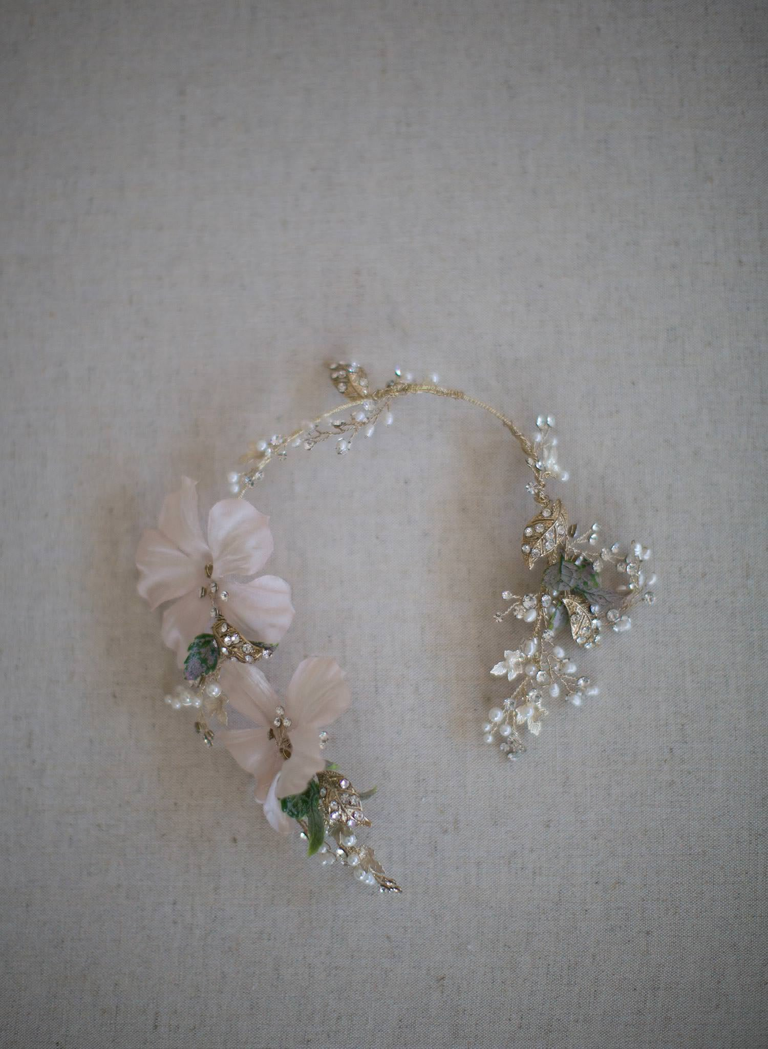 Soft blush silk flower and crystal hair vine - Style #7005