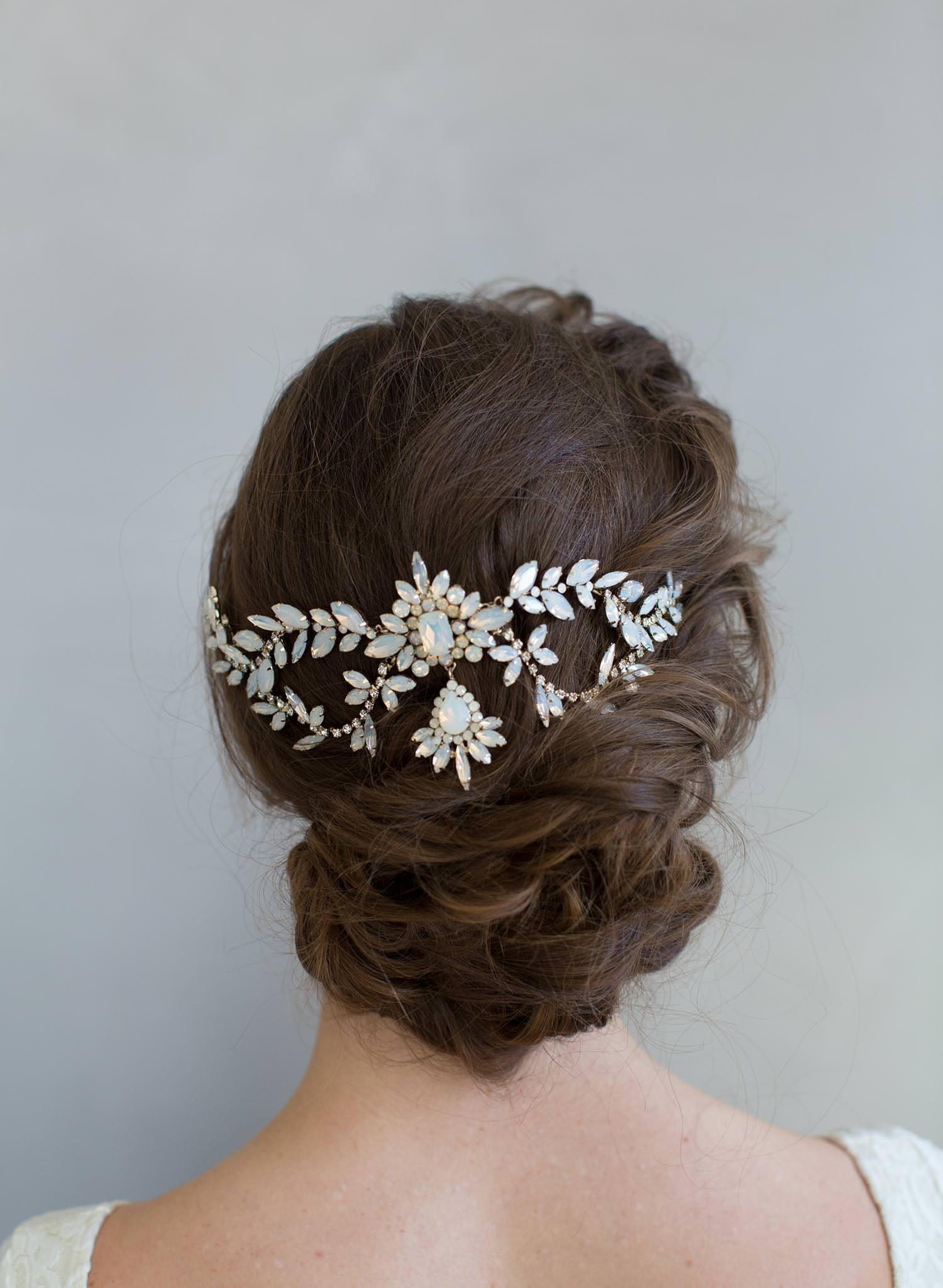 bridal crystal opal headpiece, twigs and honey