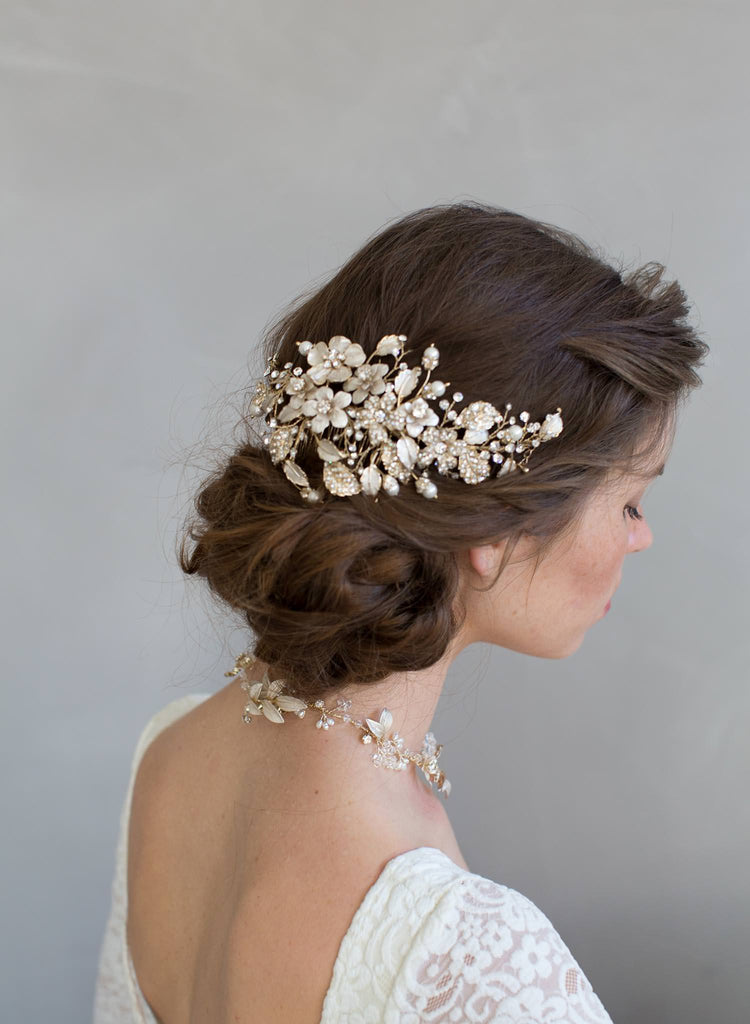 Set discount, Crystals and foliage convertible hair comb (add to style 7012) - Style #7011