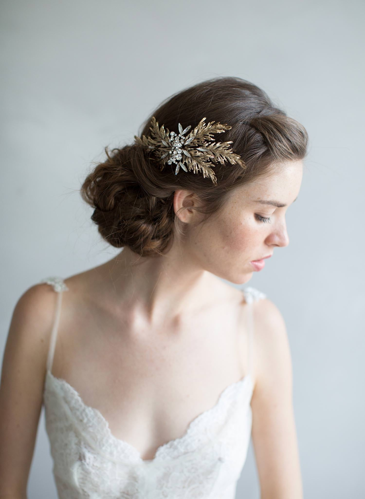 Antique gold and crystal leaf headpiece - Style #7014