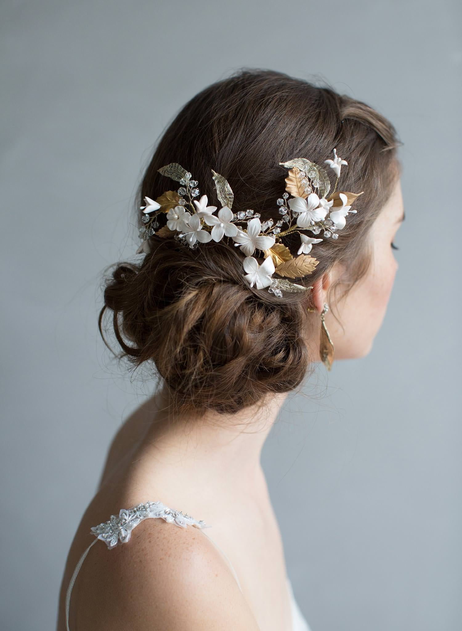 Glinting leaves and blushing flowers headpiece - Style #7017
