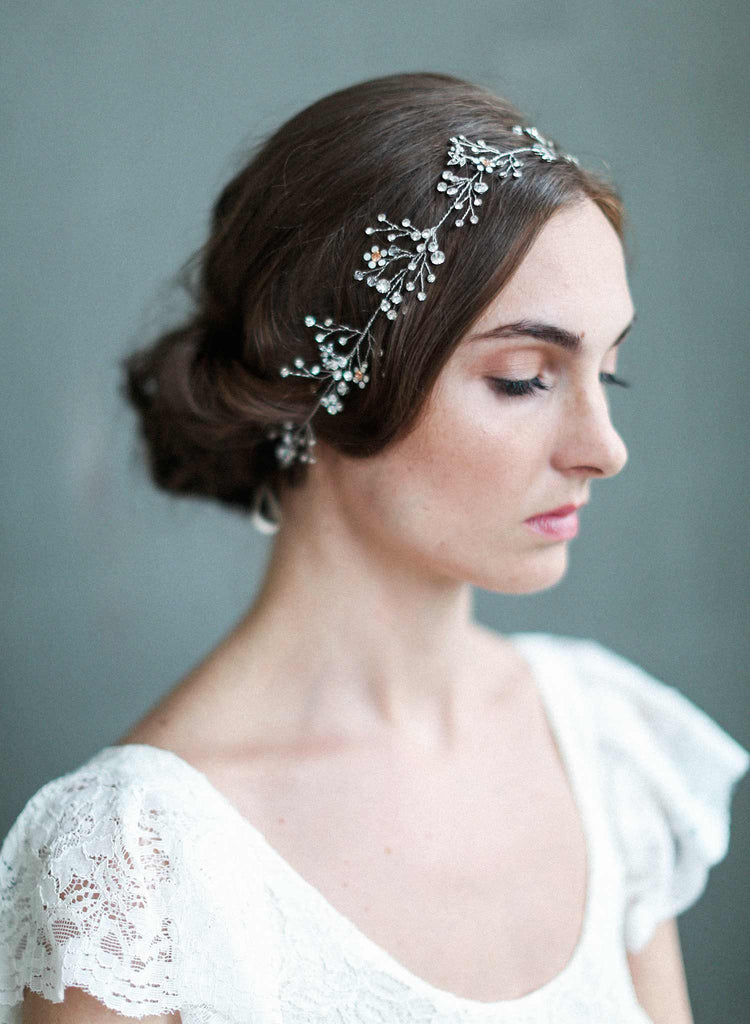delicate opal blossoms hair vine, bridal hair vine, birdal headpiece, opal crystal floral headpiece, nature inspired, twigs and honey