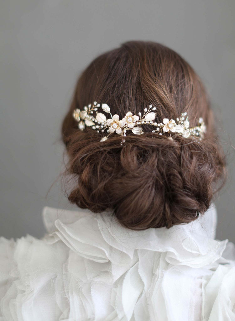 floral inspired bridal headpiece, wedding headpiece, bridal accessories, bridal hair, floral charm wedding accessories, twigs and honey