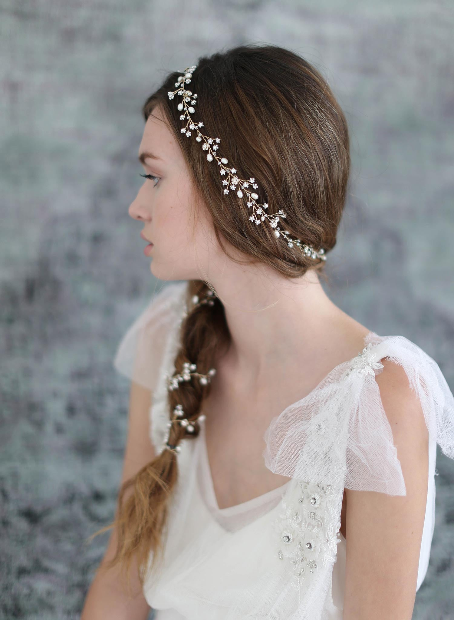 Extra long petite blossom hair vine - Style #703