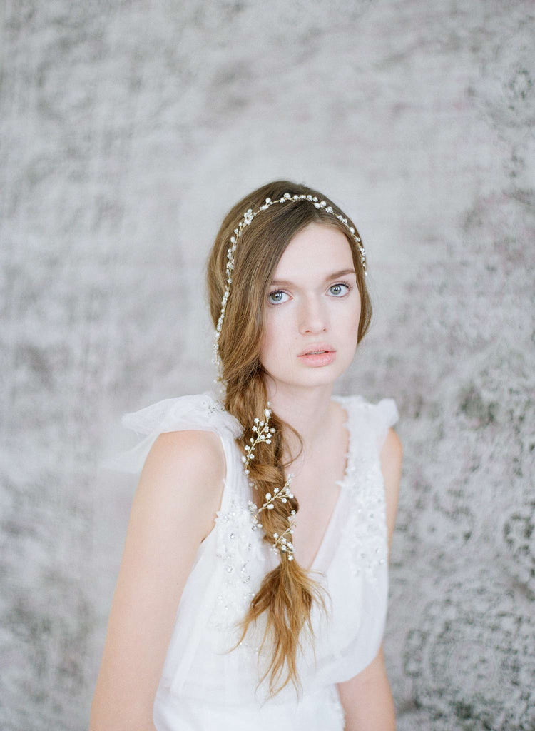 extra long beaded petite blossom hair vine, bridal headpiece, wedding hair vine, bridal accessories, twigs and honey