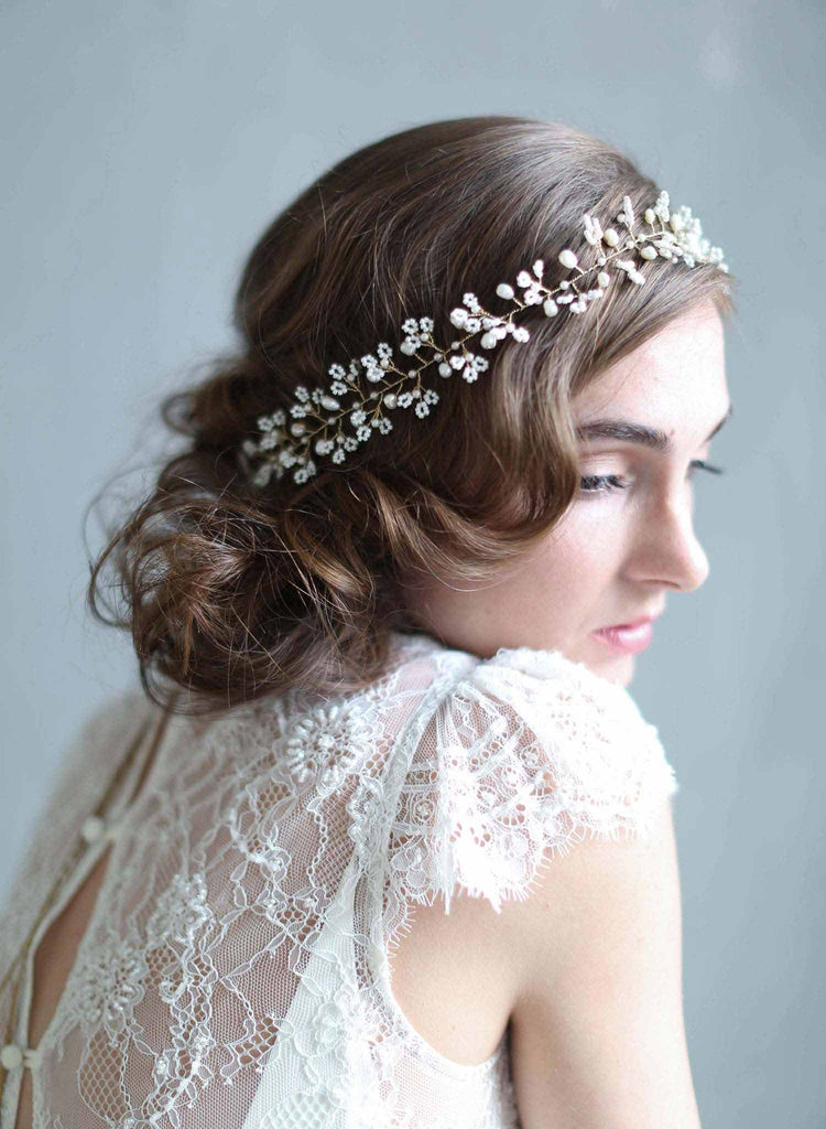 tiny beaded blossom hair vine, bridal hair vine, headband, wedding headpiece, twigs and honey