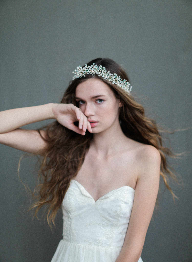 dramatic wispy babys breath hair vine, bridal hair vine, bridal accessories, wedding headband, twigs and honey, freshwater pearl headpiece