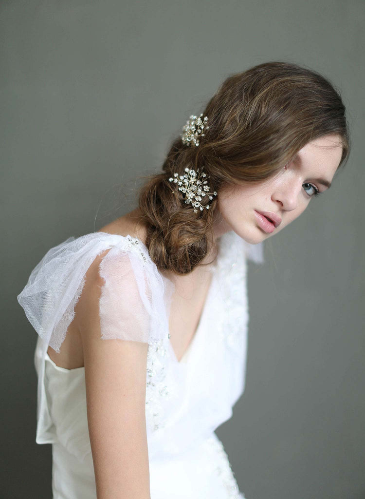 shimmering blossom burst hair pins, bridal hair pins, floral bridal hair accessories, wedding accessories, twigs and honey