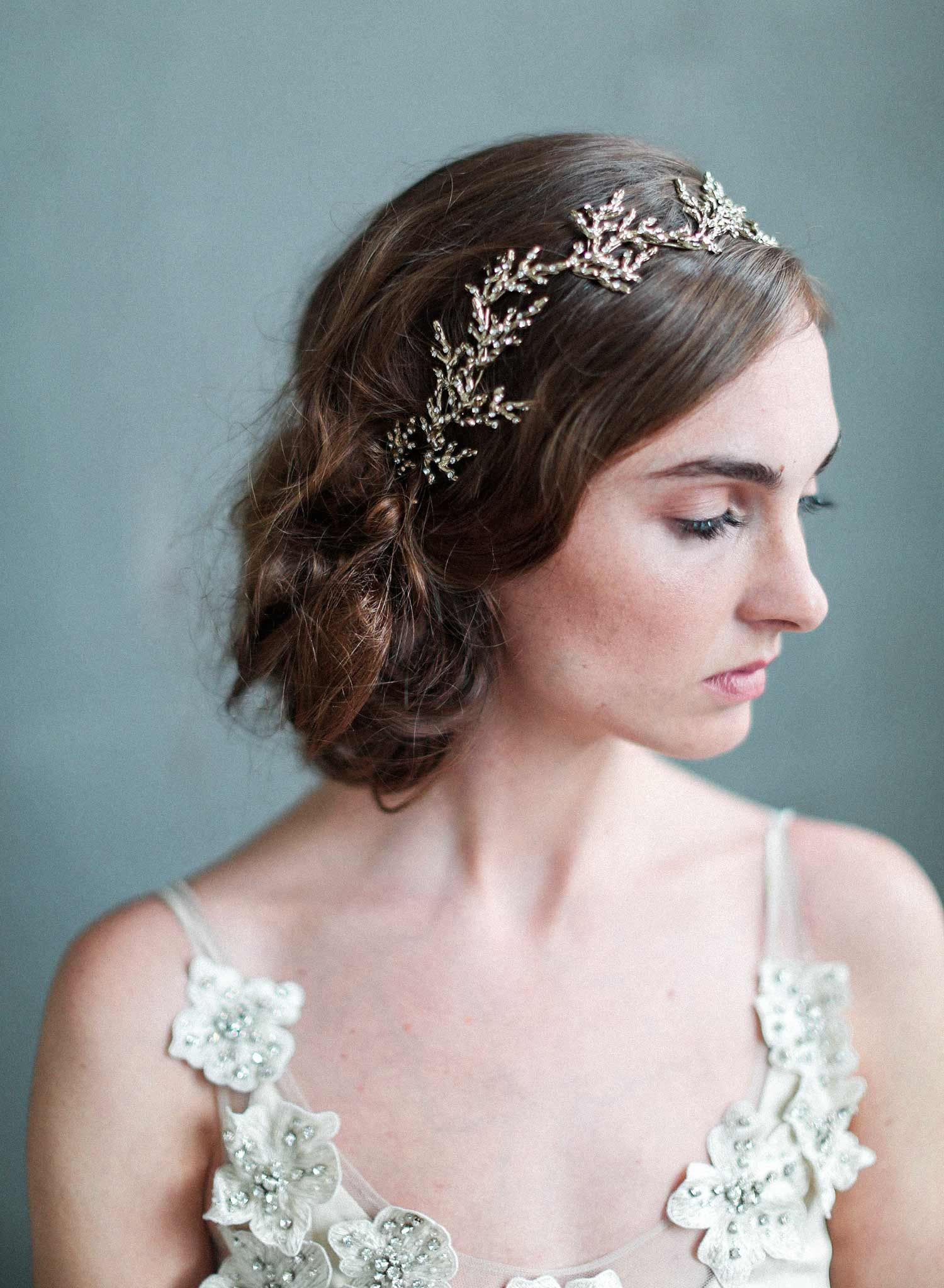 Gilded crystal encrusted branch headpiece - Style #707