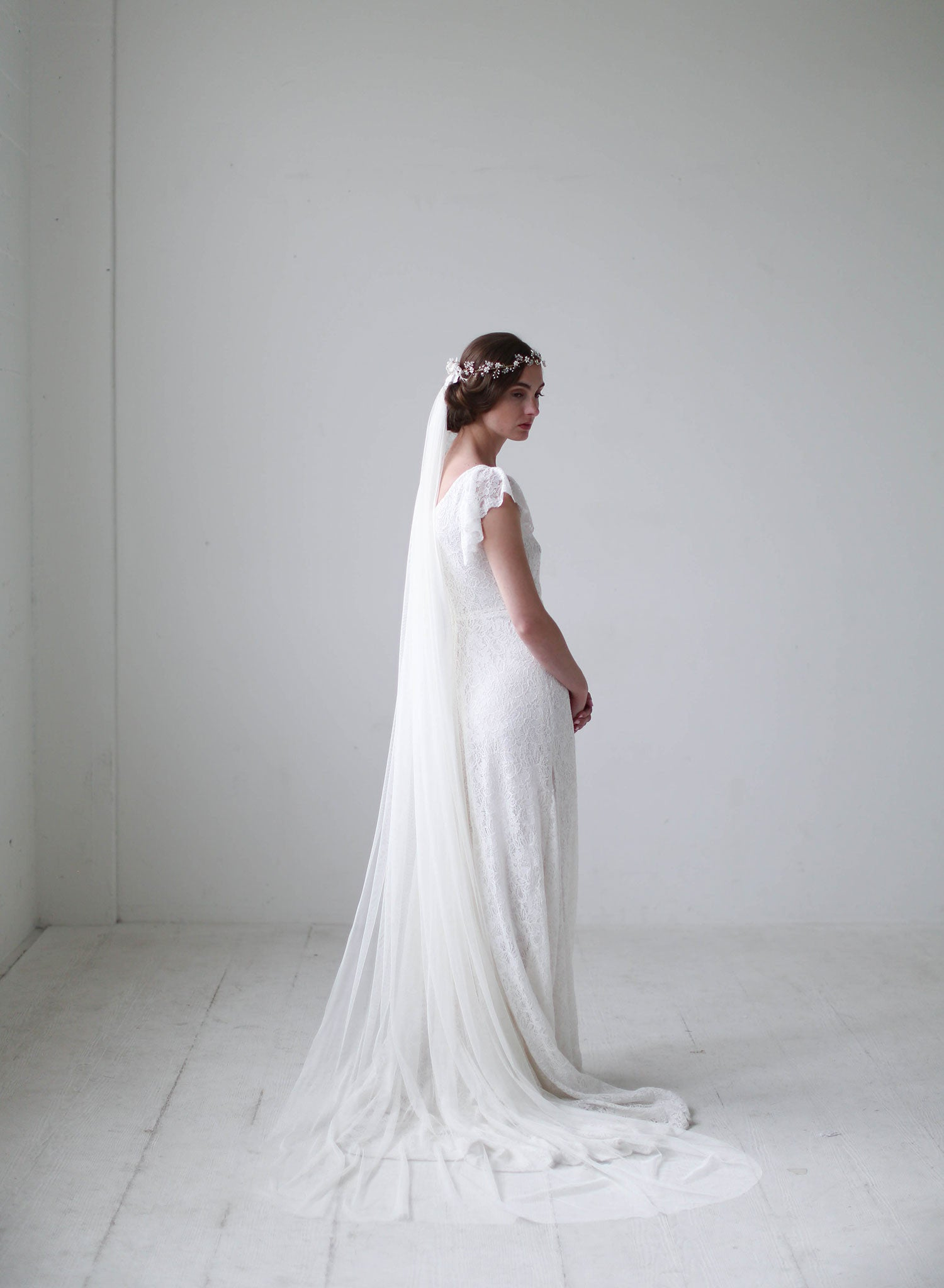 chapel length bridal veil, twigs and honey