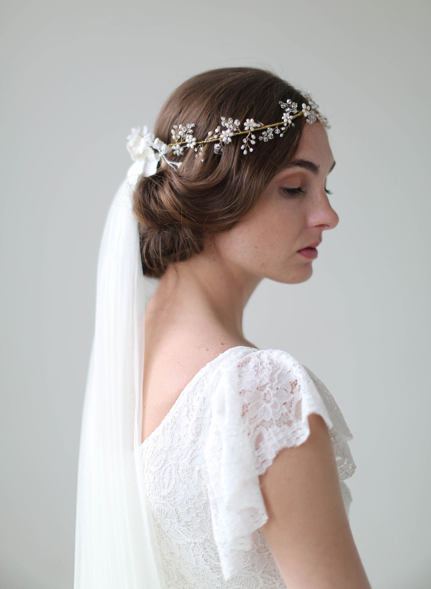 Crystal Blossom Full Crown Lux Train Veil Vintage Inspired Bridal Wedding