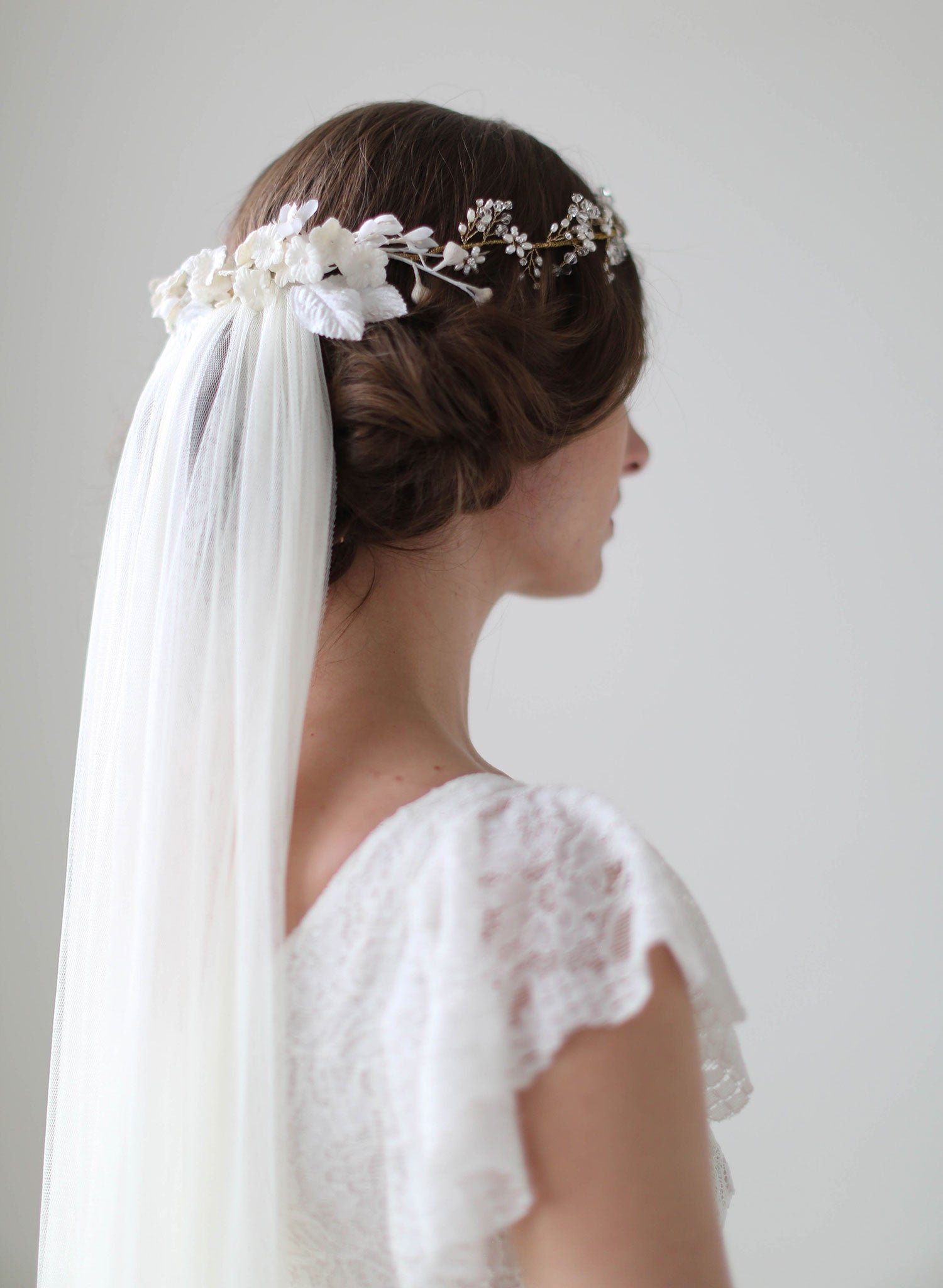 Bridal crown veil - Crystal and blossom full crown lux train veil ...
