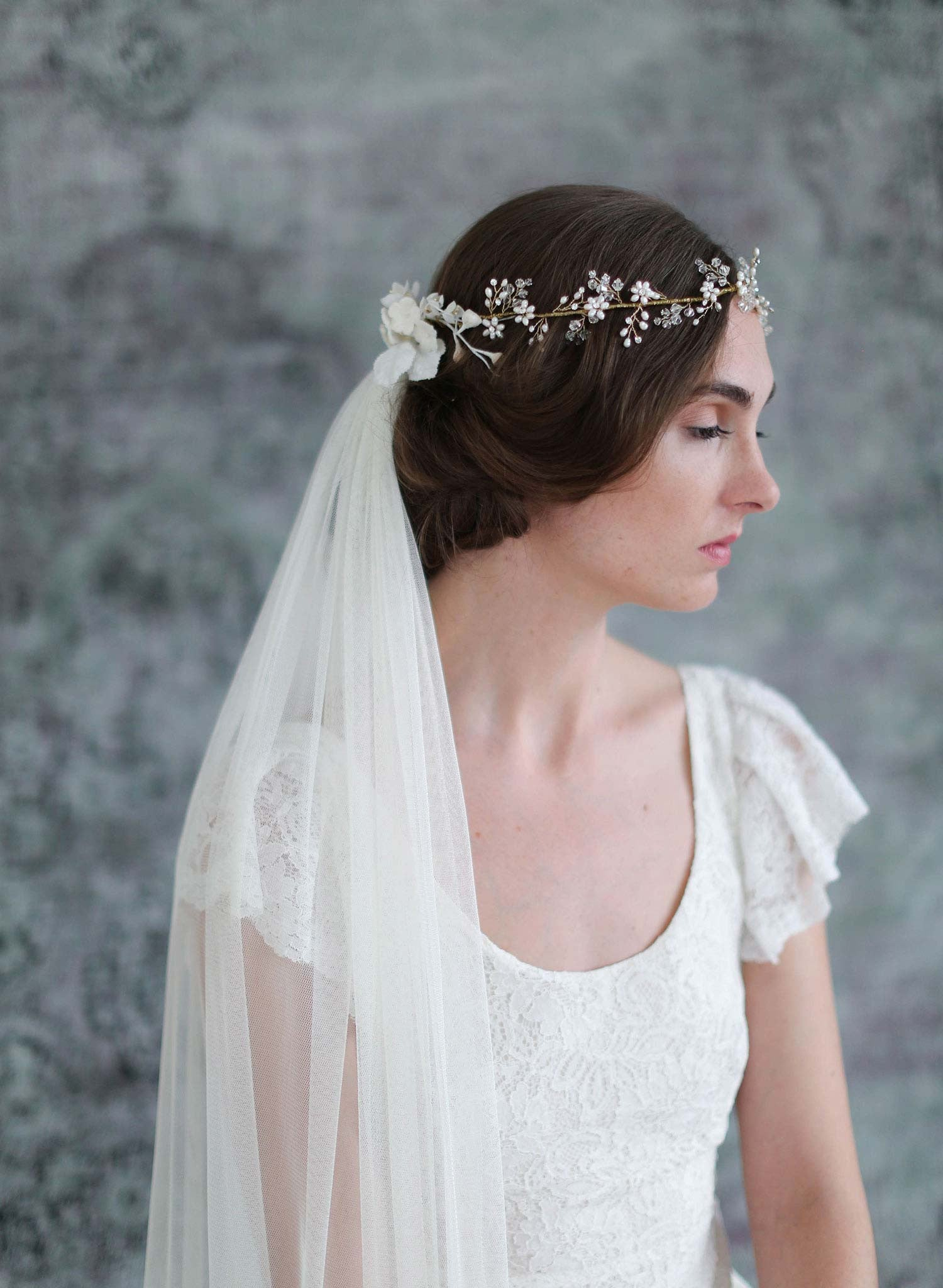 Bridal Crown Veil Crystal And Blossom Full Crown Lux Train Veil