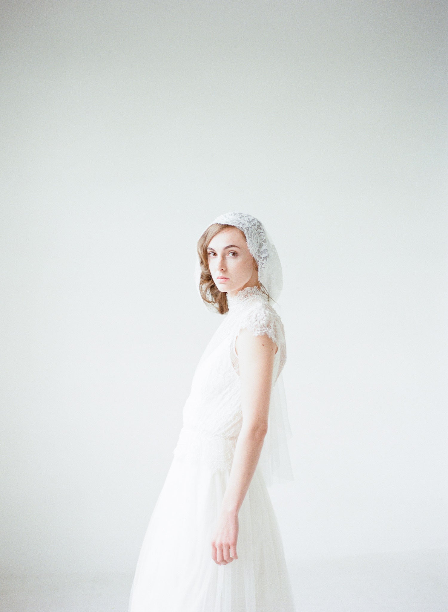 Wedding veil - Mantilla lace trimmed veil with headband - Style #709 ...
