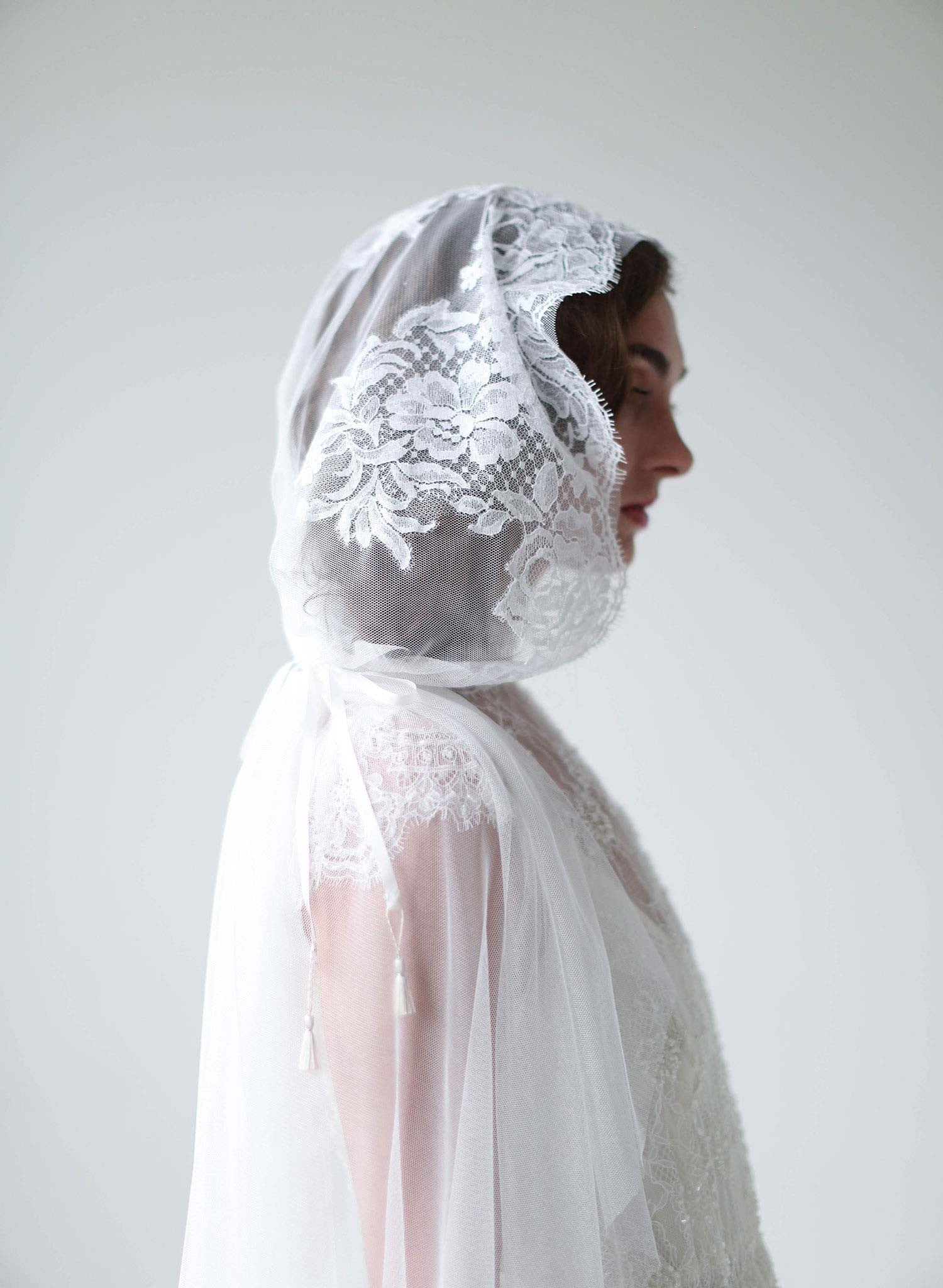 Mantilla lace trimmed veil with headband - Style #709