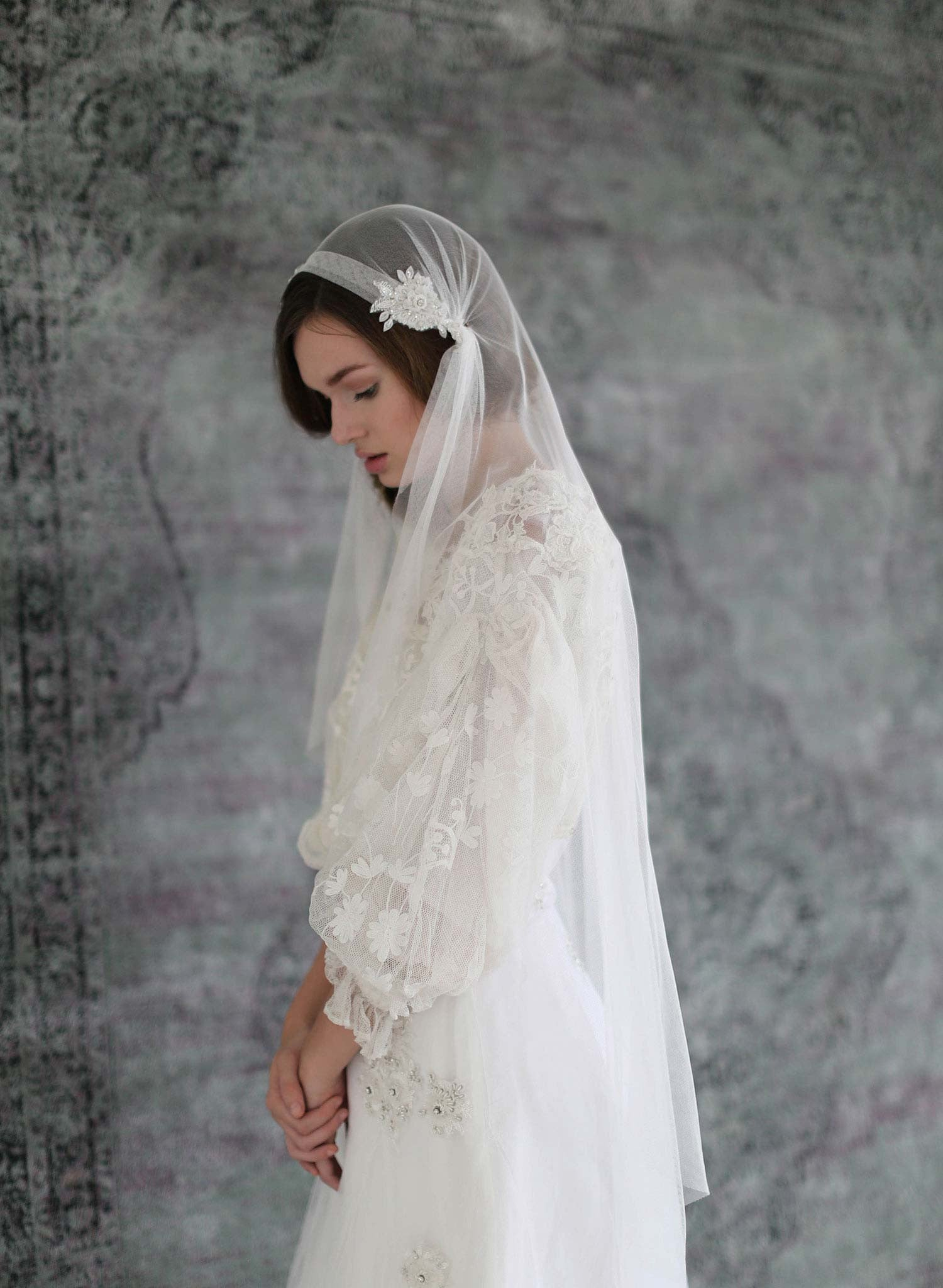 Juliet bead and lace embellished lux veil - Style #711