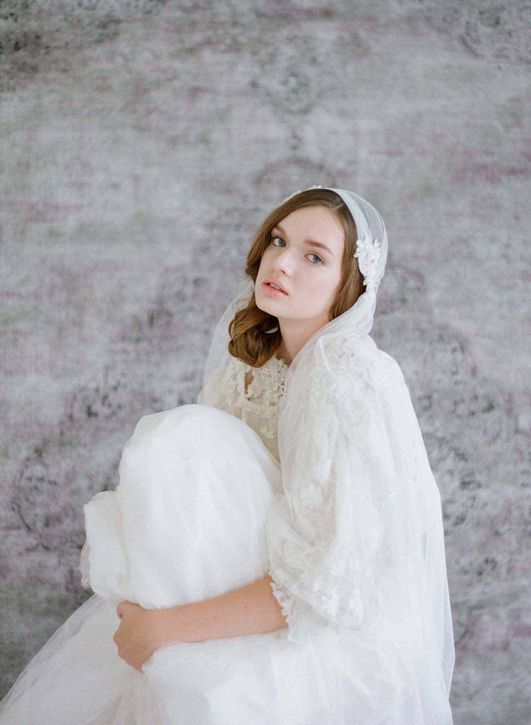 lace and bead embellished veil, bridal veil, wedding veil, vintage inspired, lux tulle veil, wedding accessories, twigs and honey
