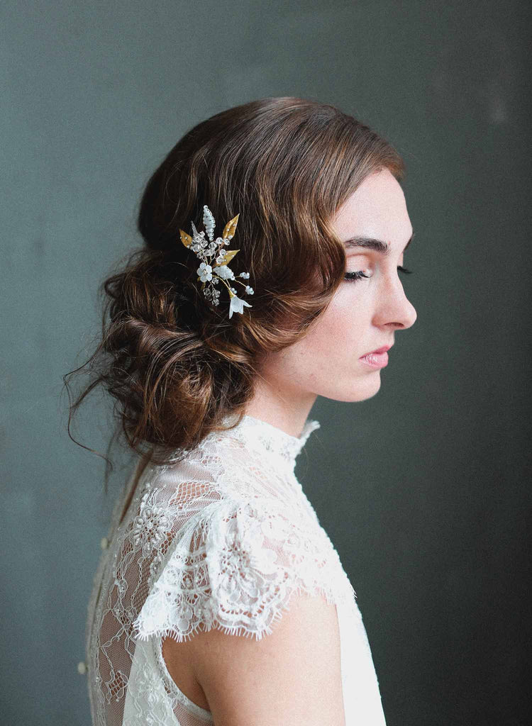 bridal hair pin, blossoms hair pin, wedding headpiece, nature inspired hair accessories, twigs and honey
