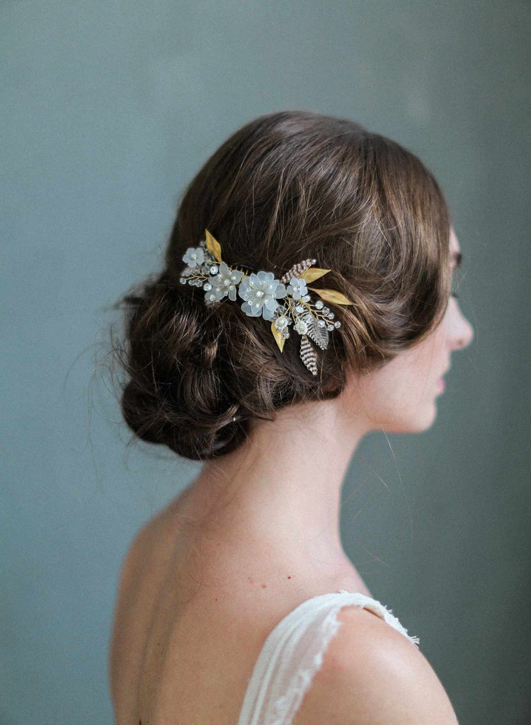 mystic floral crystal hair comb, bridal hair comb, wedding hair accessories, nature inspired comb, twigs and honey