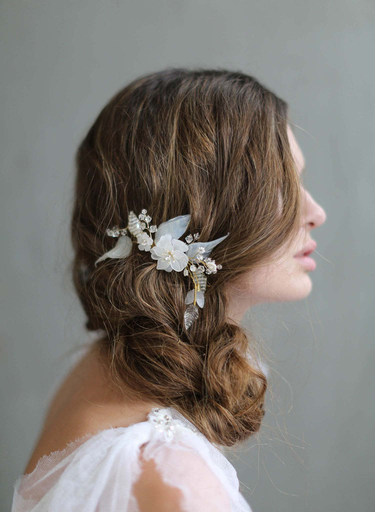 opaline flora hair comb, nature inspired bridal headpiece, bridal hair comb, beaded floral comb, twigs and honey, bridal accessories