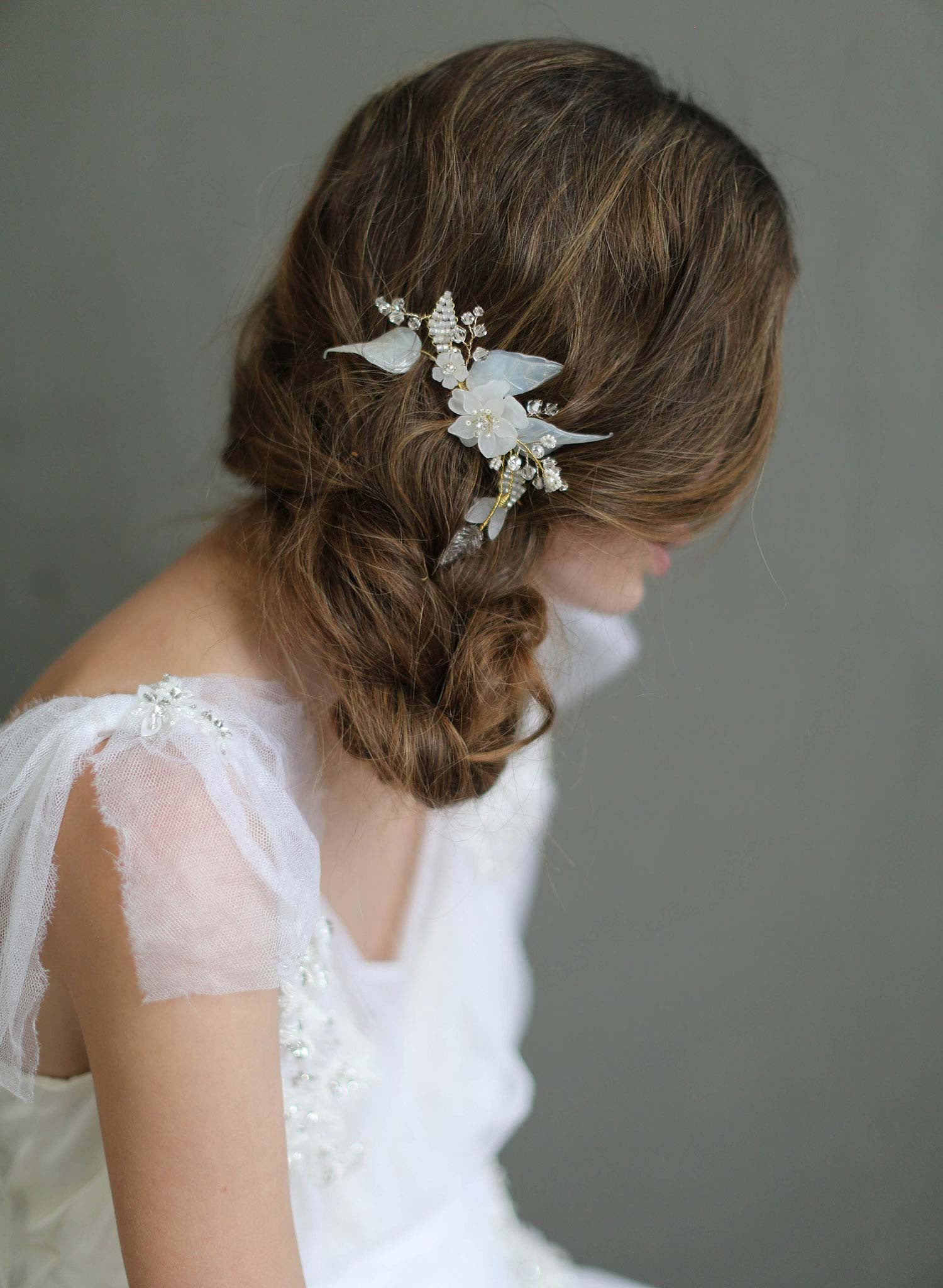 Br Bridal Headpieces Twigs And Honey -  opaline flora hair comb nature inspired bridal headpiece bridal hair comb beaded floral