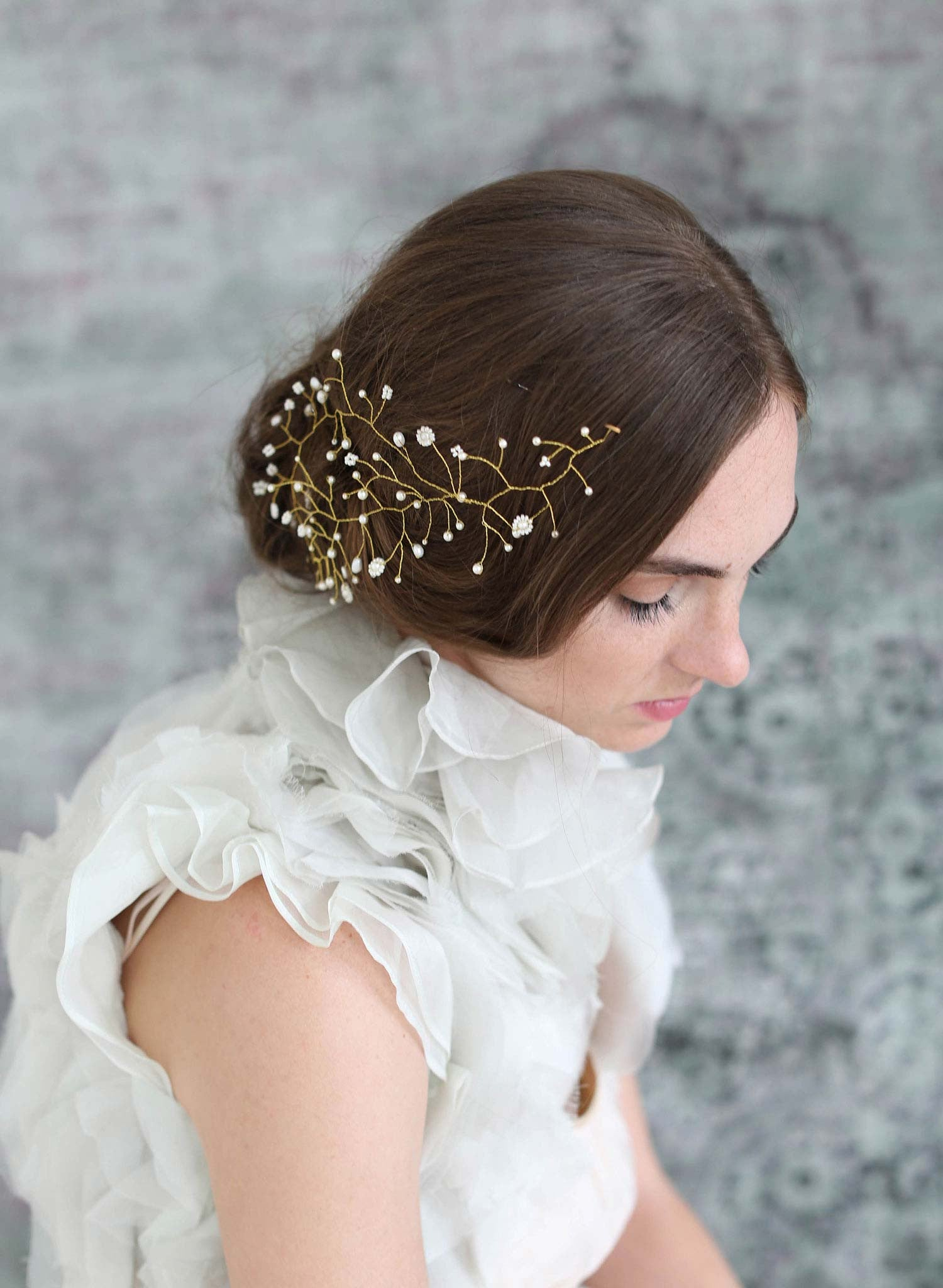 Bridal Hair Adornment Floating Pearl And Bead Hair Wisp