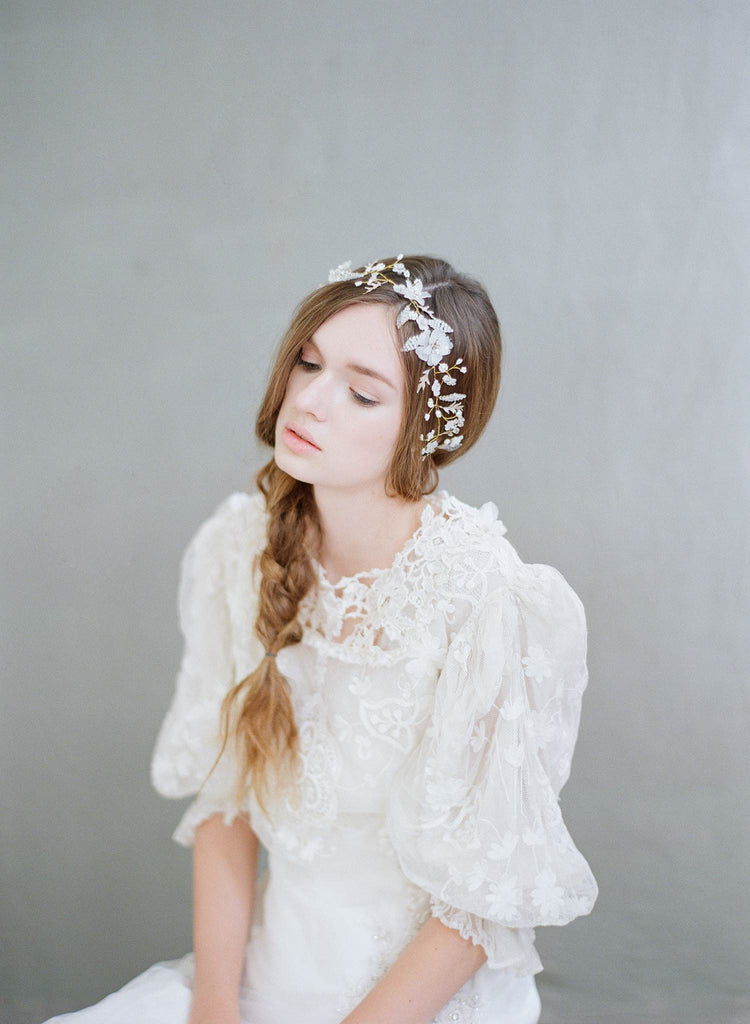 whimsical floral hair vine, bridal hair vine, wedding headpiece, twigs and honey, bridal accessories, wedding hair accessories