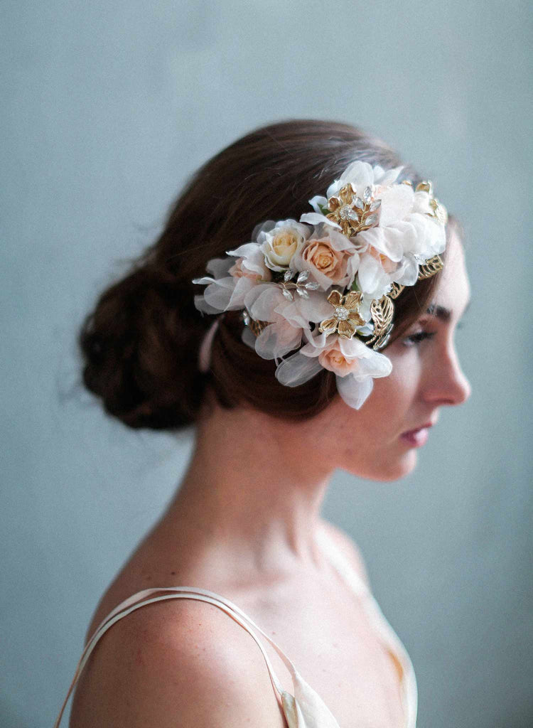 blush and gold bouquet headpiece, silk floral hair adornment, floral bridal headpiece, bridal accessories, twigs and honey