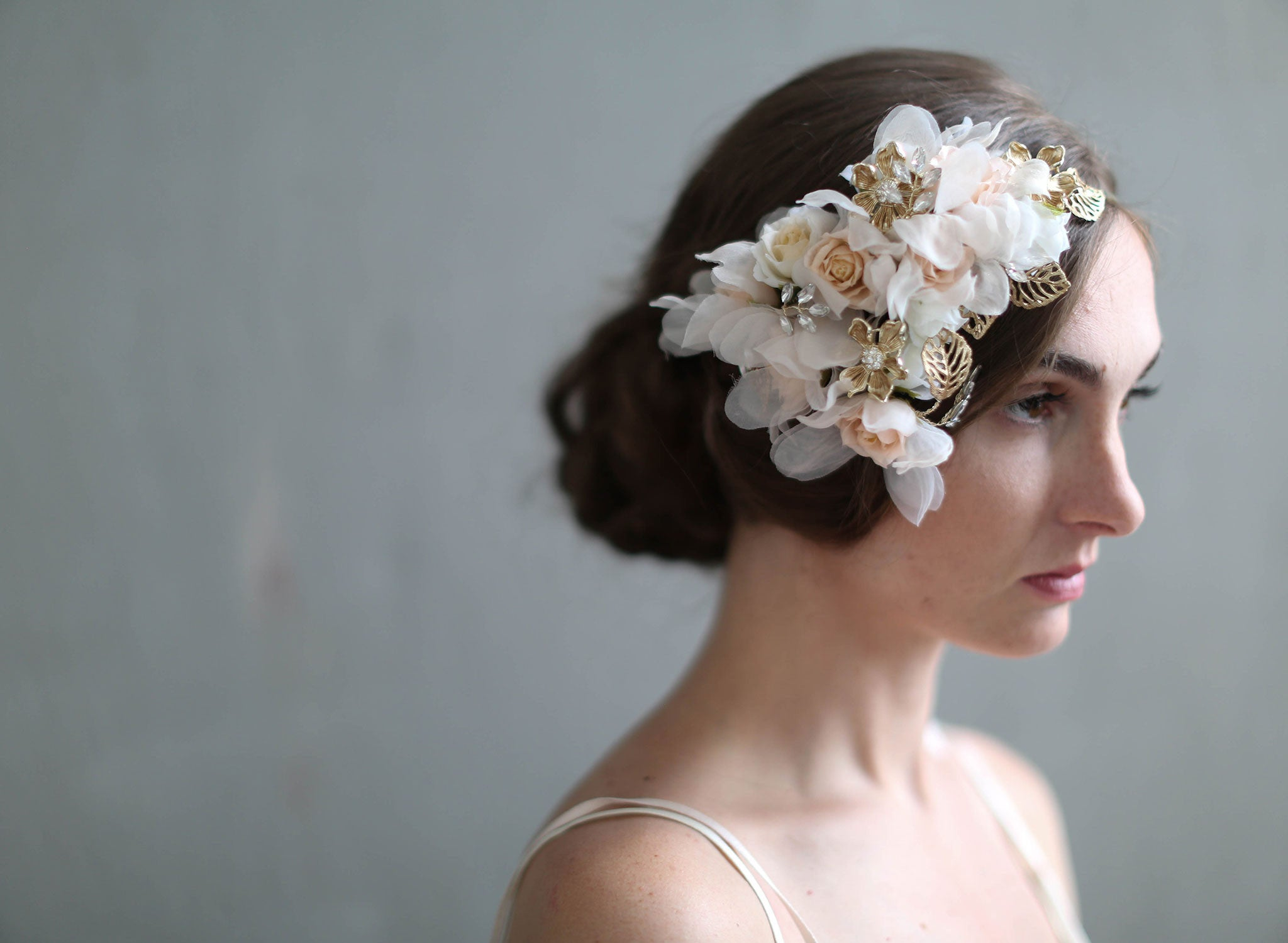 Bridal Floral Headpiece Blush And Gold Bouquet Headpiece Style