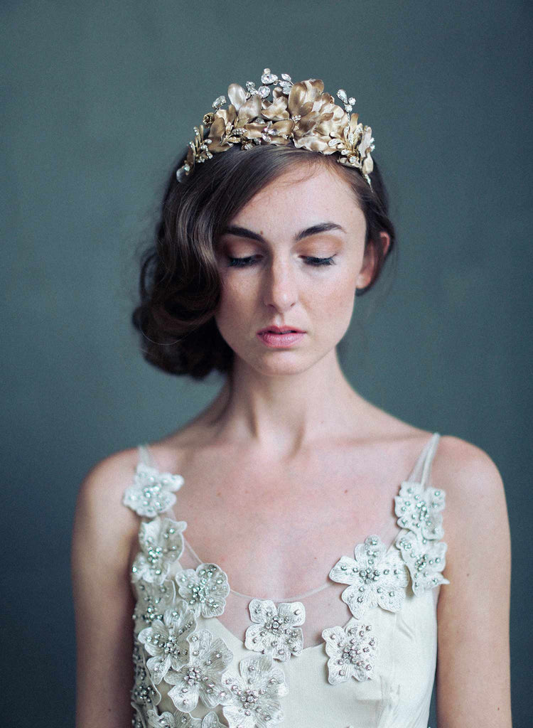 bridal crown, burnished soft regal crown, bridal hair accessories, twigs and honey, wedding accessories