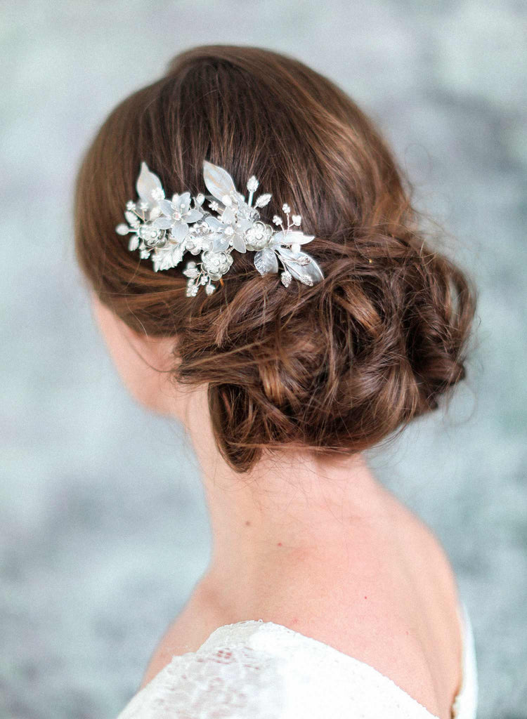 frosted floral jewels comb, bridal hair comb, floral inspired hair comb, twigs and honey