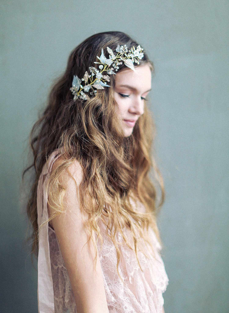 bridal beaded brass headpiece, sugar blossom headpiece, wedding hair accessories, twigs and honey, blush bridal headpiece