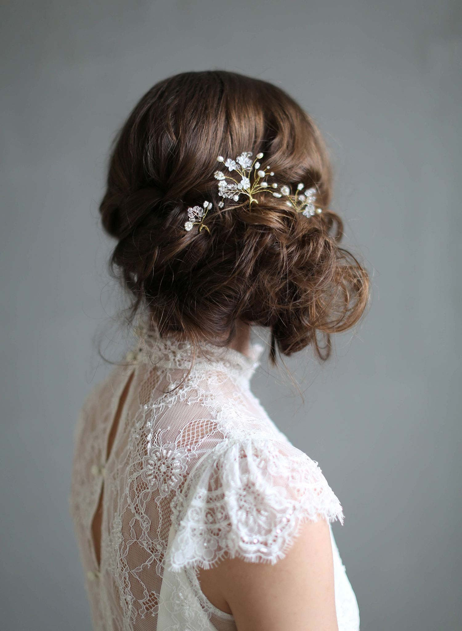 Wedding Hair Bobby Pin Set of Vintage Flowers in Blue and Gray ...