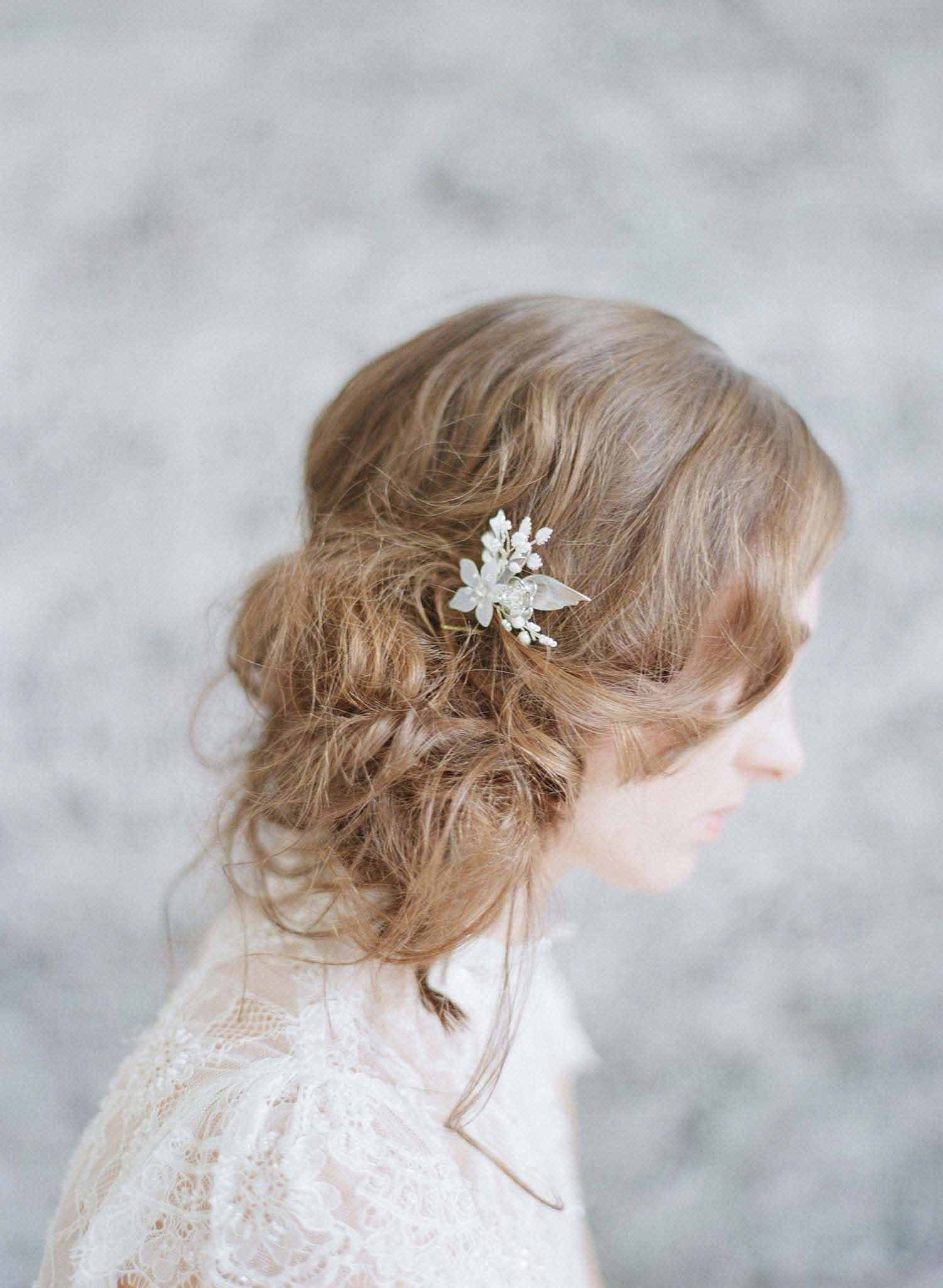 Br Bridal Headpieces Twigs And Honey -  petite floral bridal hair pin bridal accessories wedding hair pin floral inspired hair