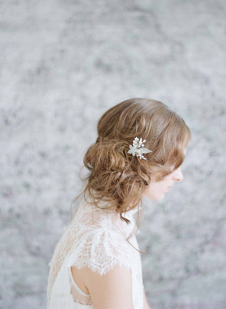 petite floral bridal hair pin, bridal accessories, wedding hair pin, floral inspired hair adornments, twigs and honey