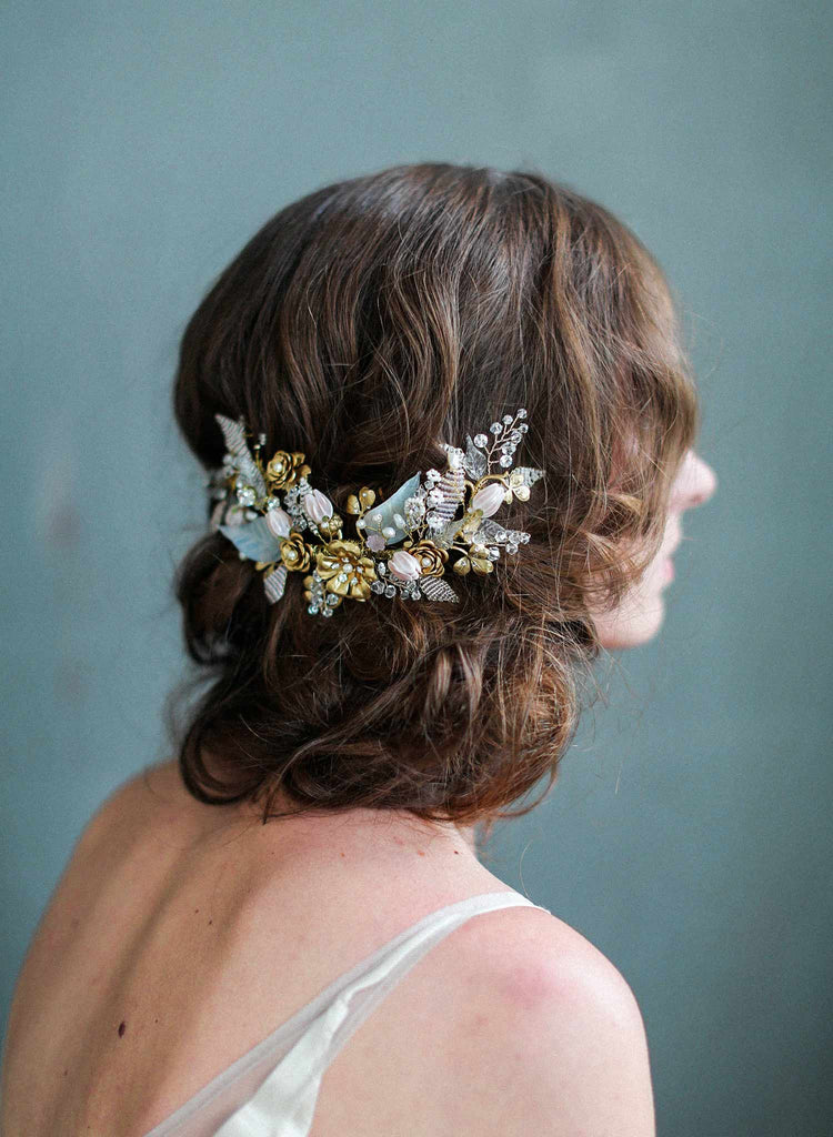 bridal floral extravagant headpiece, glass charms headpiece, bridal headpiece, wedding accessories, blush hair accessories, twigs and honey