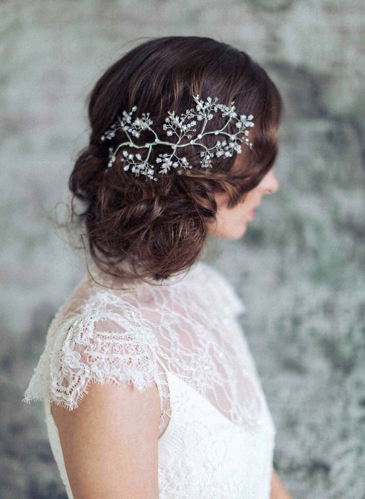 bridal glistening branch headpiece, wedding headpiece, bridal accessories, wedding accessories, floral headpiece, silver headpiece, twigs and honey