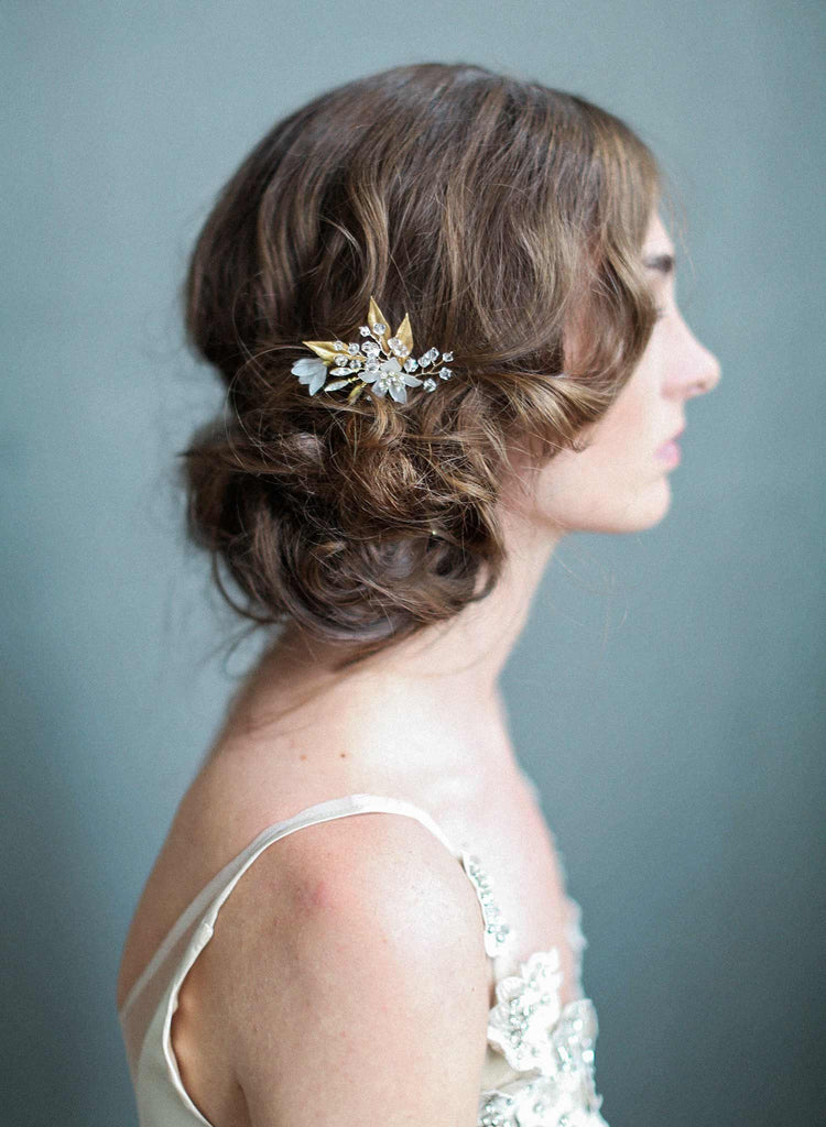 frosted garden hairpin, nature inspired hair accessories, bridal hairpin, wedding hair pin, twigs and honey, floral headpiece