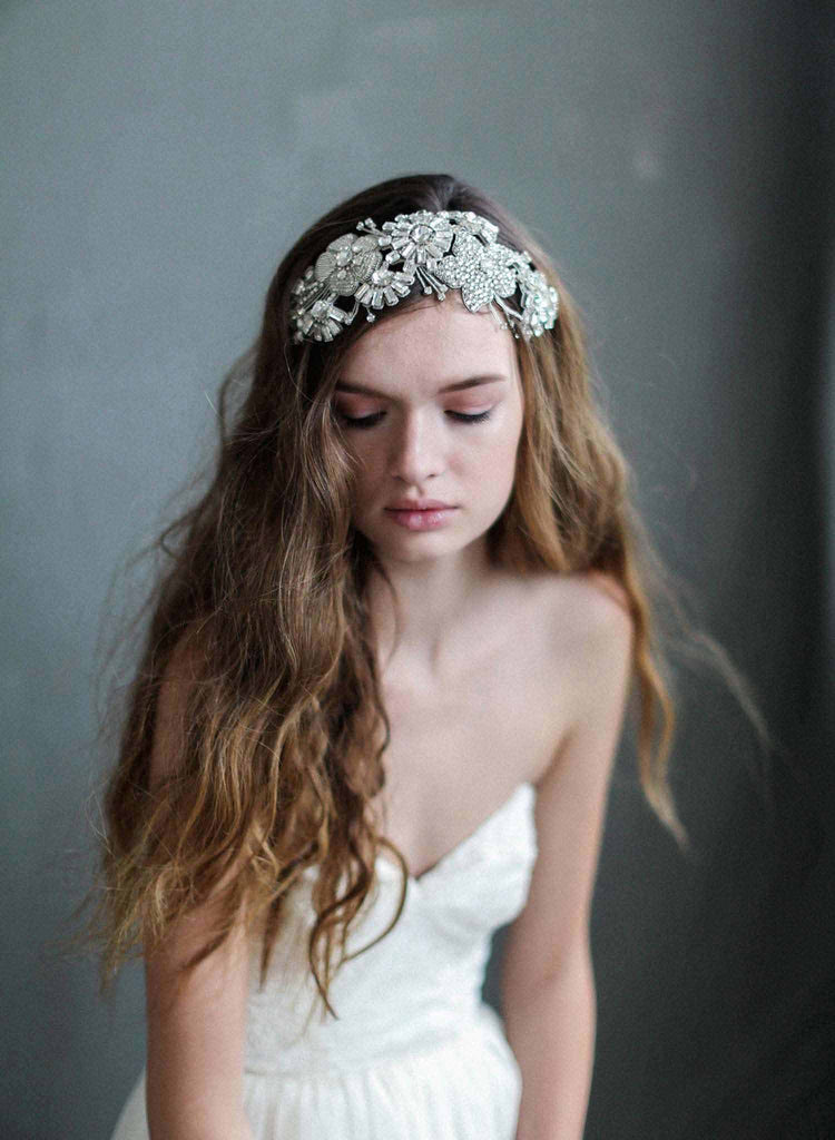 crystal and beaded bridal headband, wedding accessories, bridal headpiece, twigs and honey, crystal headband