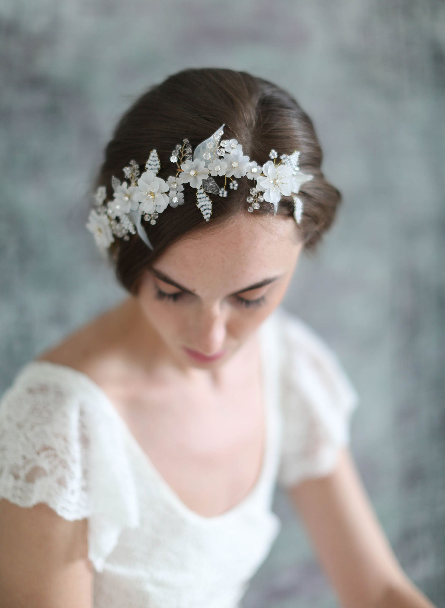 Bridal floral hair adornment - Lightness and frost floral headpiece ... 469c32c170d