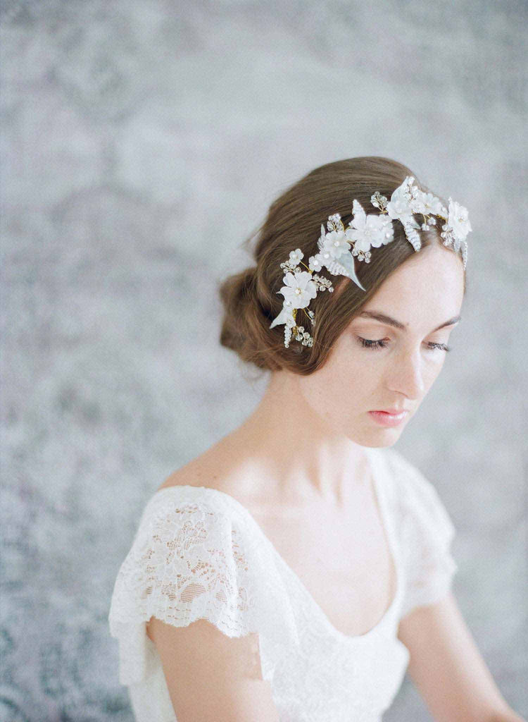 frosted floral bridal headpiece, wedding headpiece, bridal hair adornment, twigs and honey, nature inspired