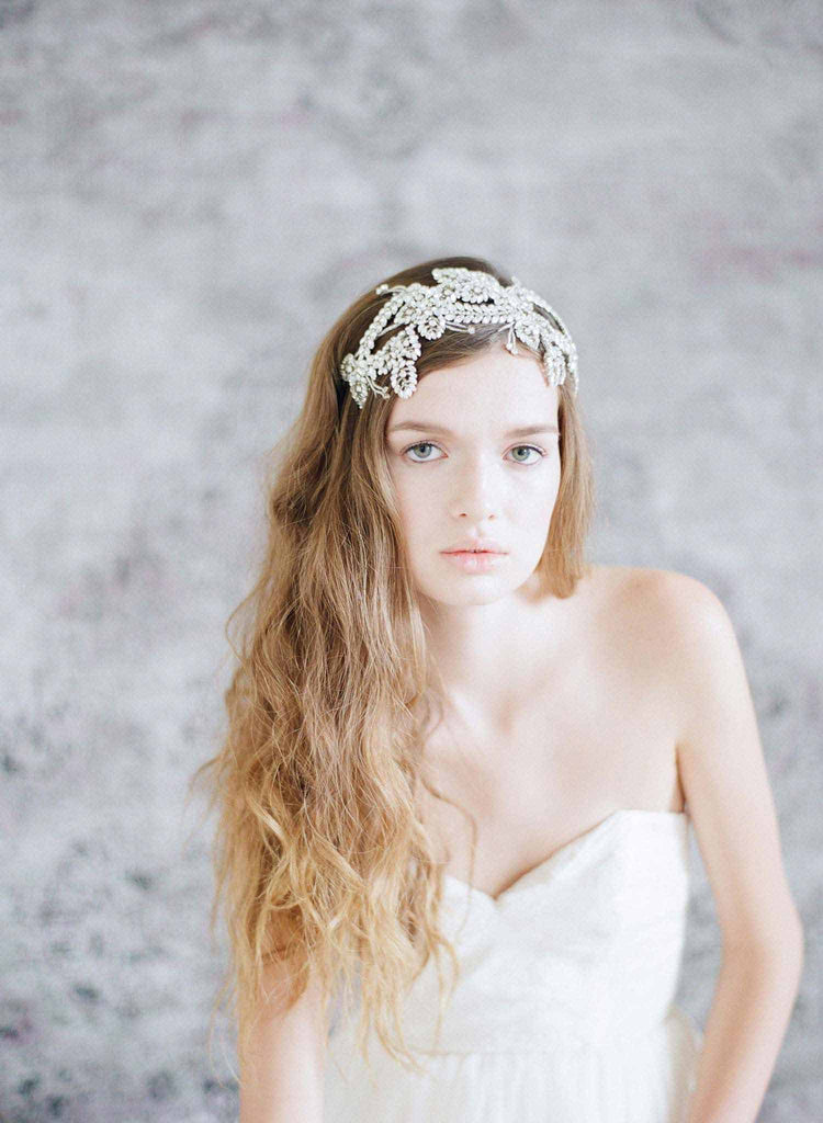 crystal encrusted headpiece, bridal headband, wedding headpiece, rhinestones, twigs and honey