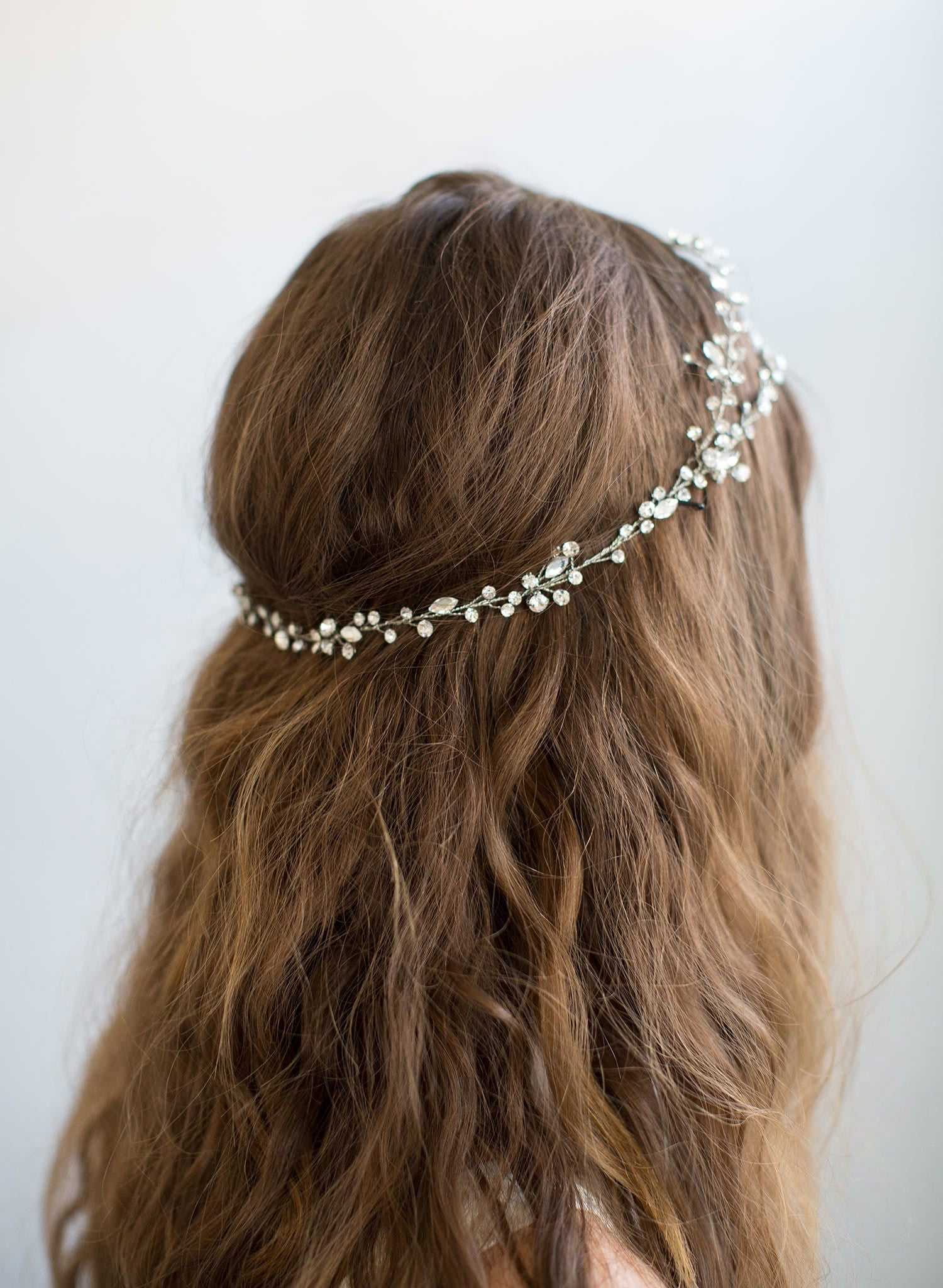Extra long simple crystal hair vine - Style #735