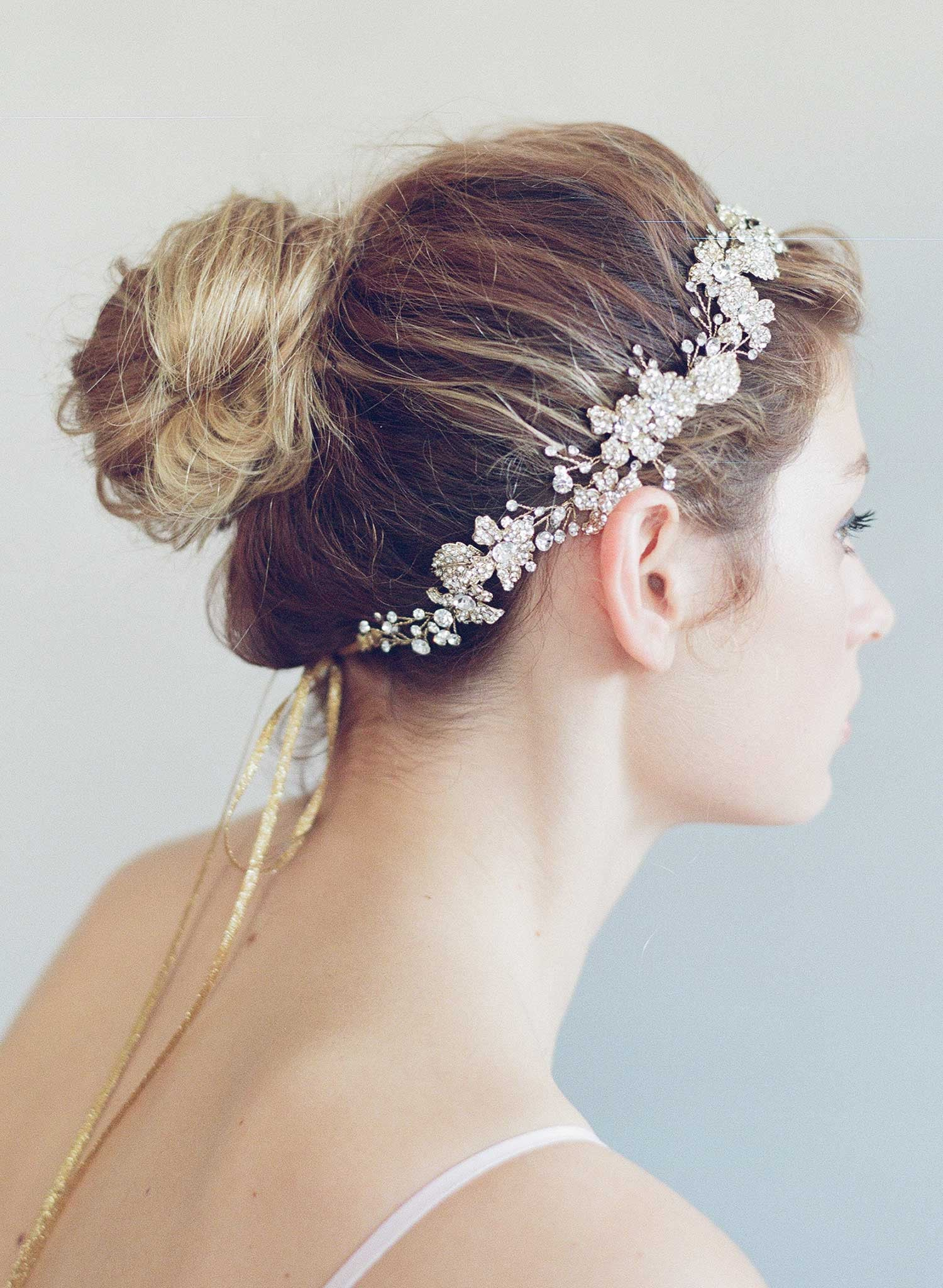 Crystal encrusted flower and leaf hair vine - Style #736