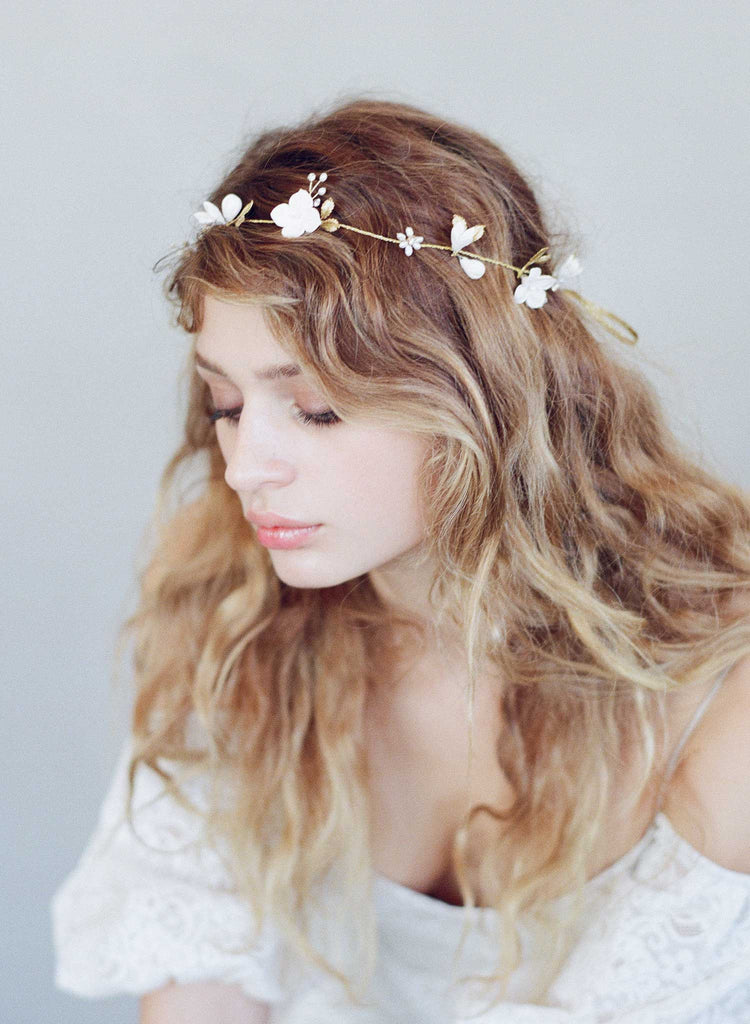 simple sugar blossom hair vine, bridal headpiece, floral hair vine, clay flowers, twigs and honey