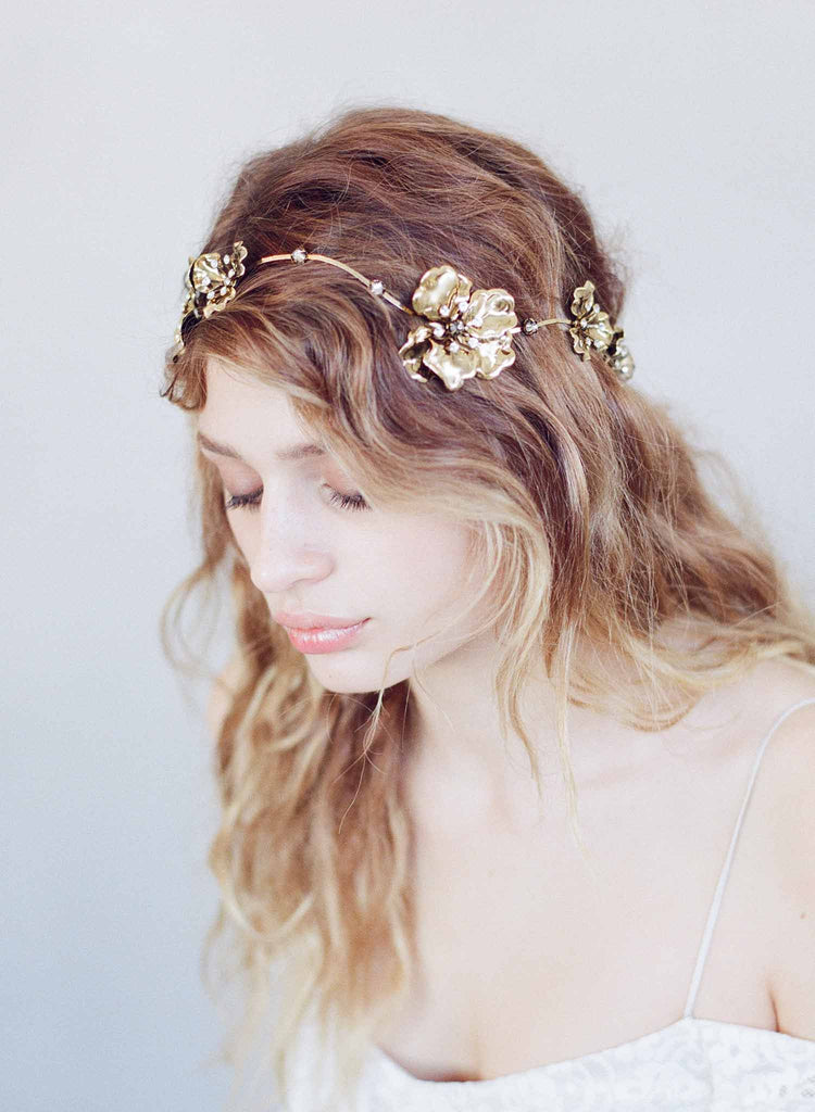 Wavy gilded and antique flower headband - Style #739