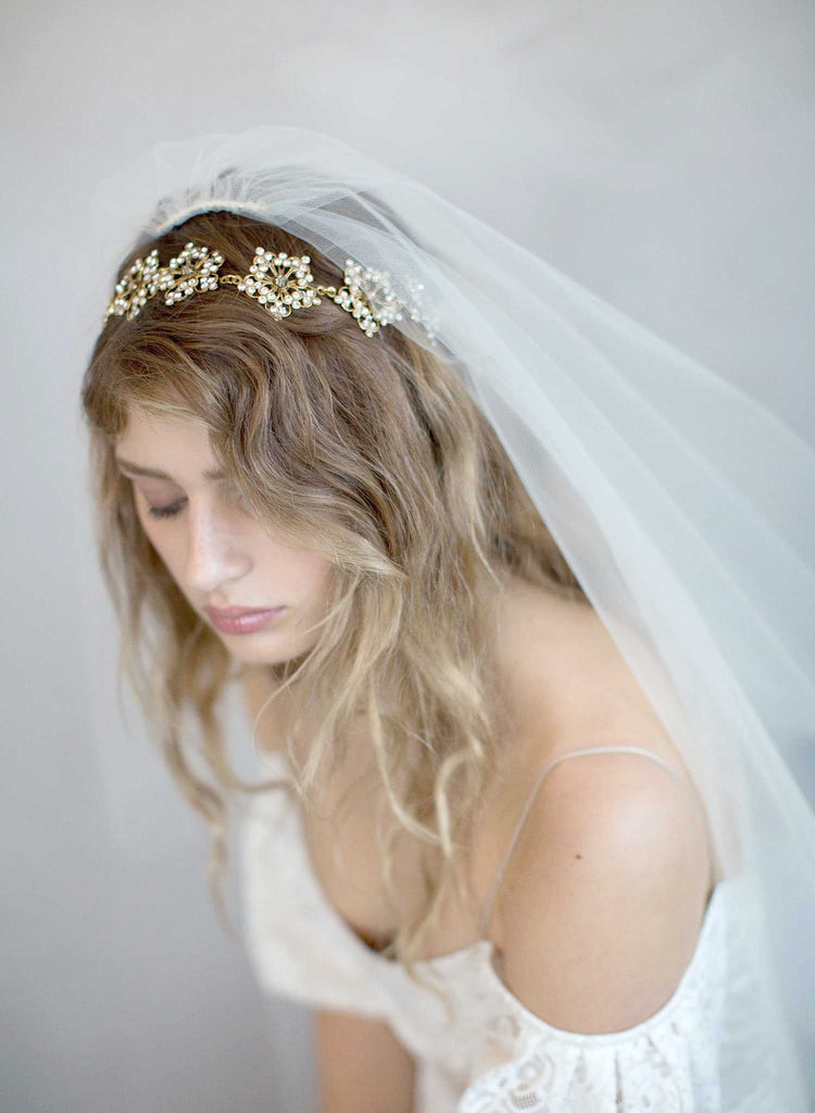 bridal headpiece, wedding accessory, gold plated rhinestone headpiece, bridal sash, twigs and honey